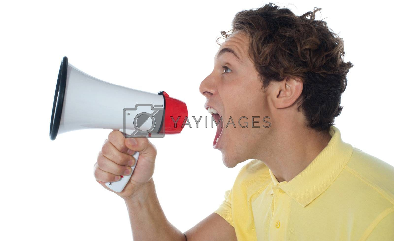 Young man with megaphone isolated on white background