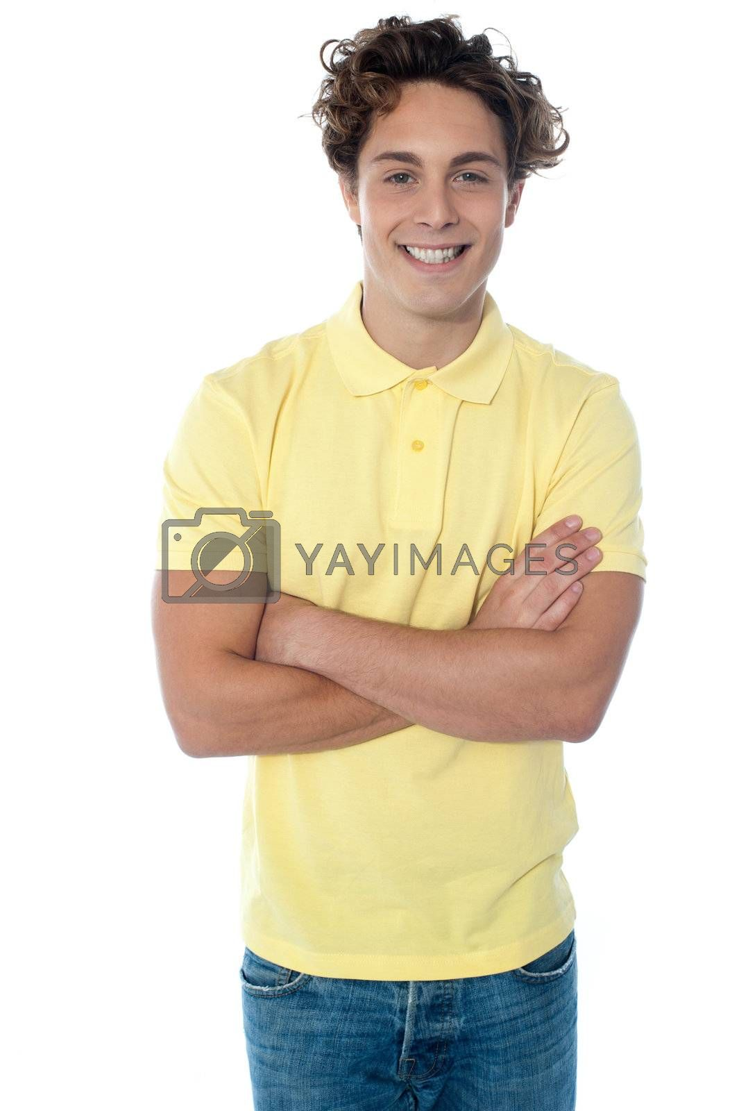 Portrait of young happy smiling man isolated on a white background