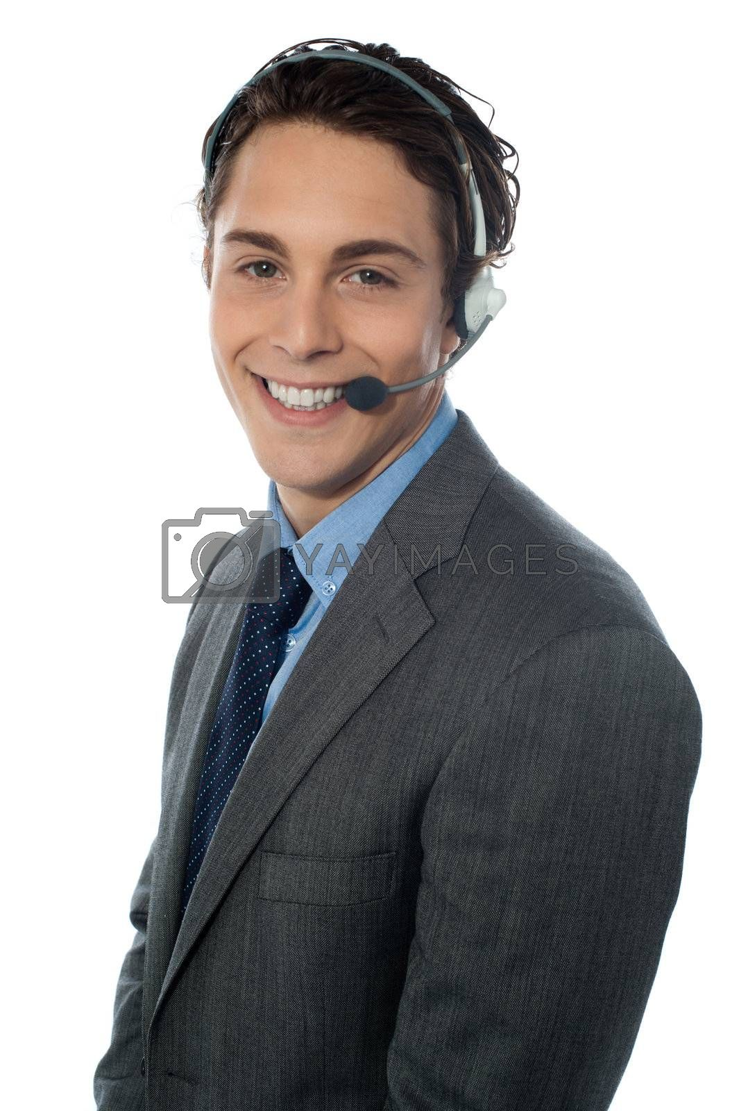 Male customer service representative smiling, isolated on white