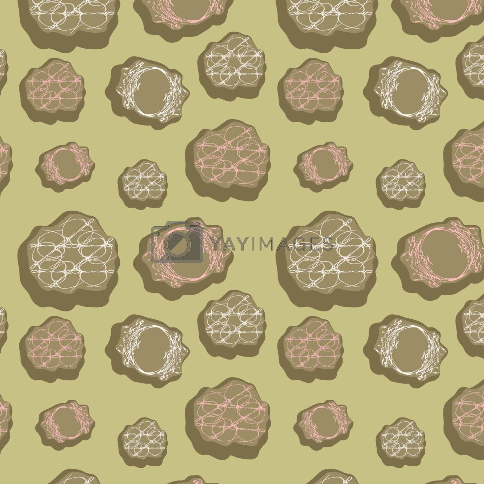 Original seamless background with miscellaneous elements, vector, illustration