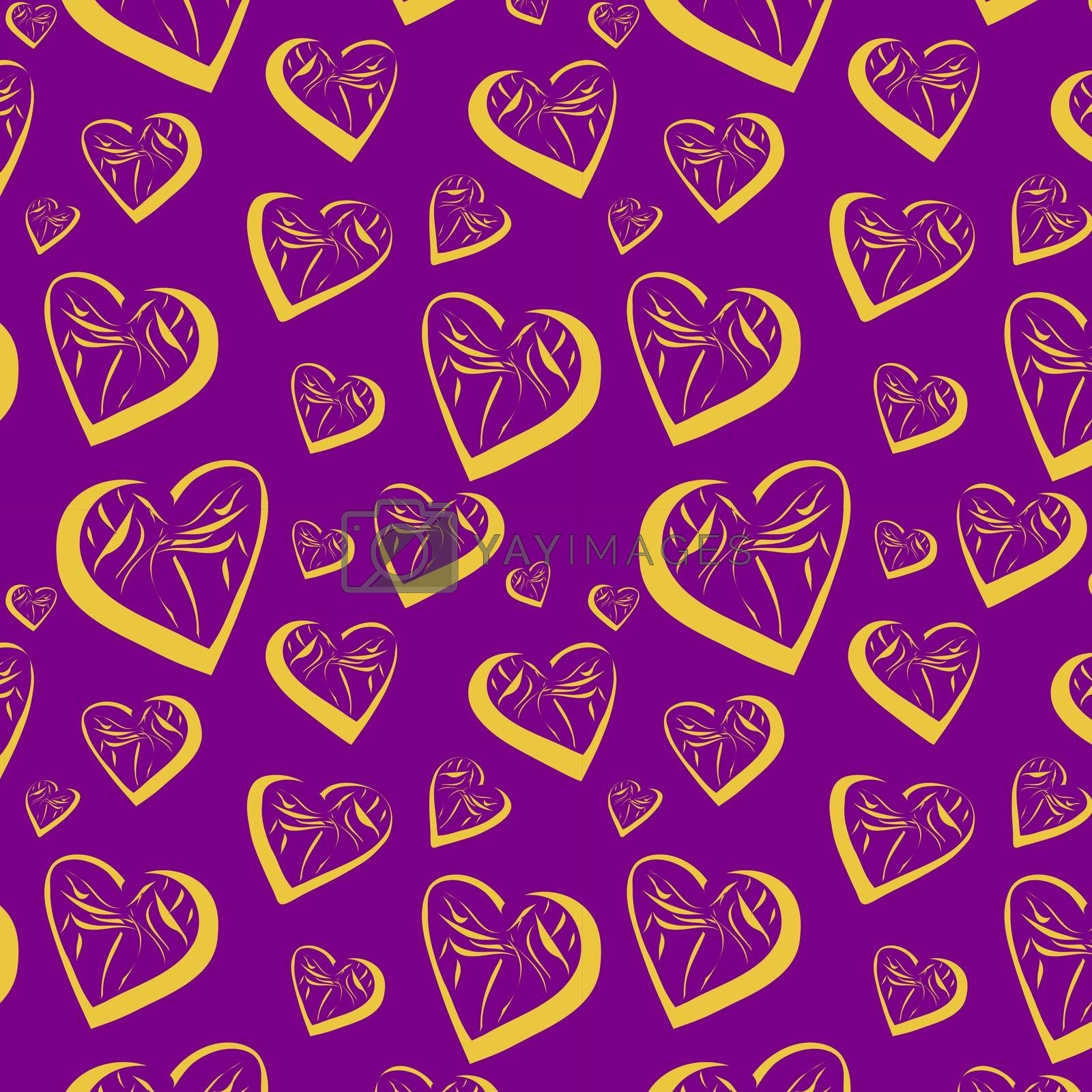 Seamless background with hearts, vector, illustration