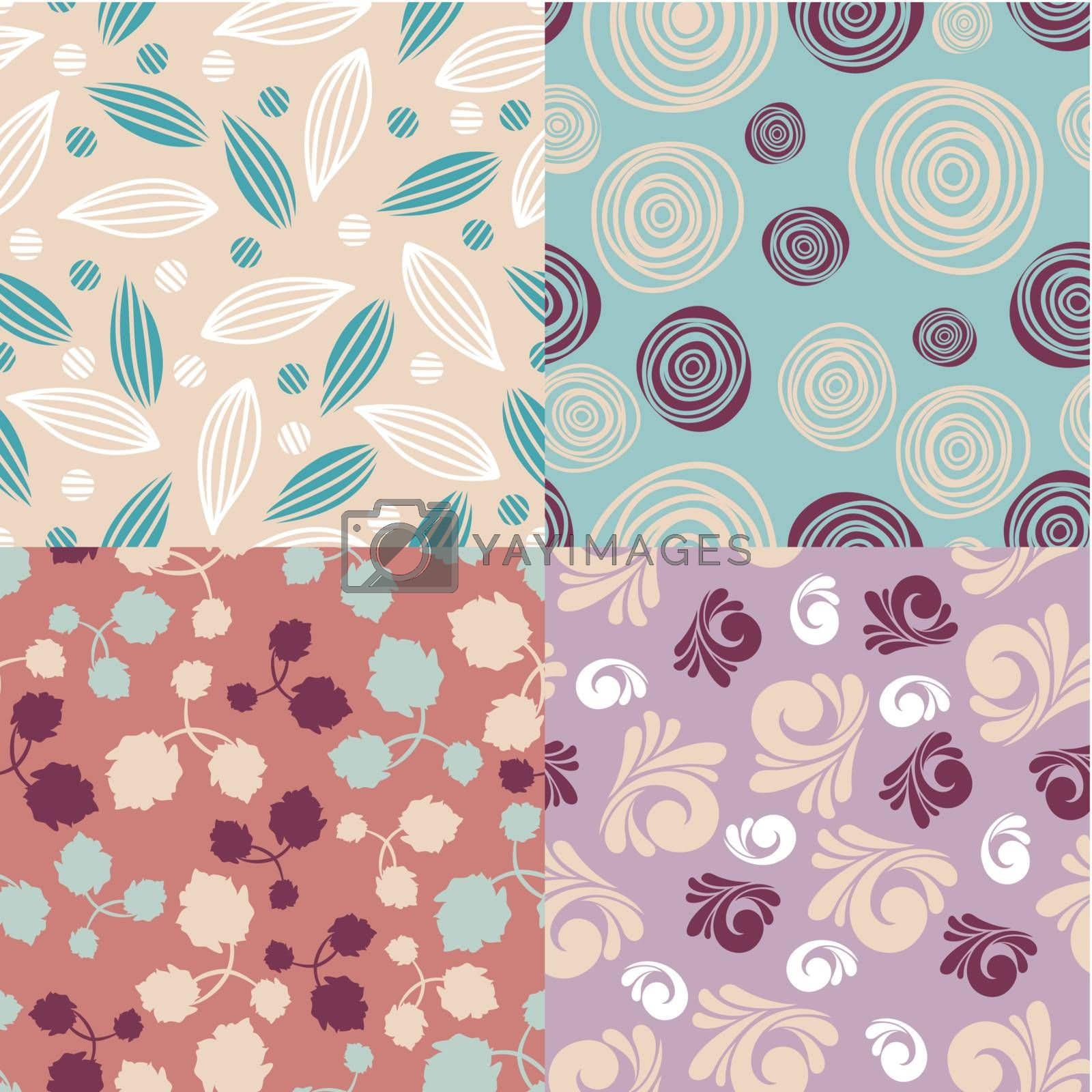 set of cute seamless backgrounds vector illustration