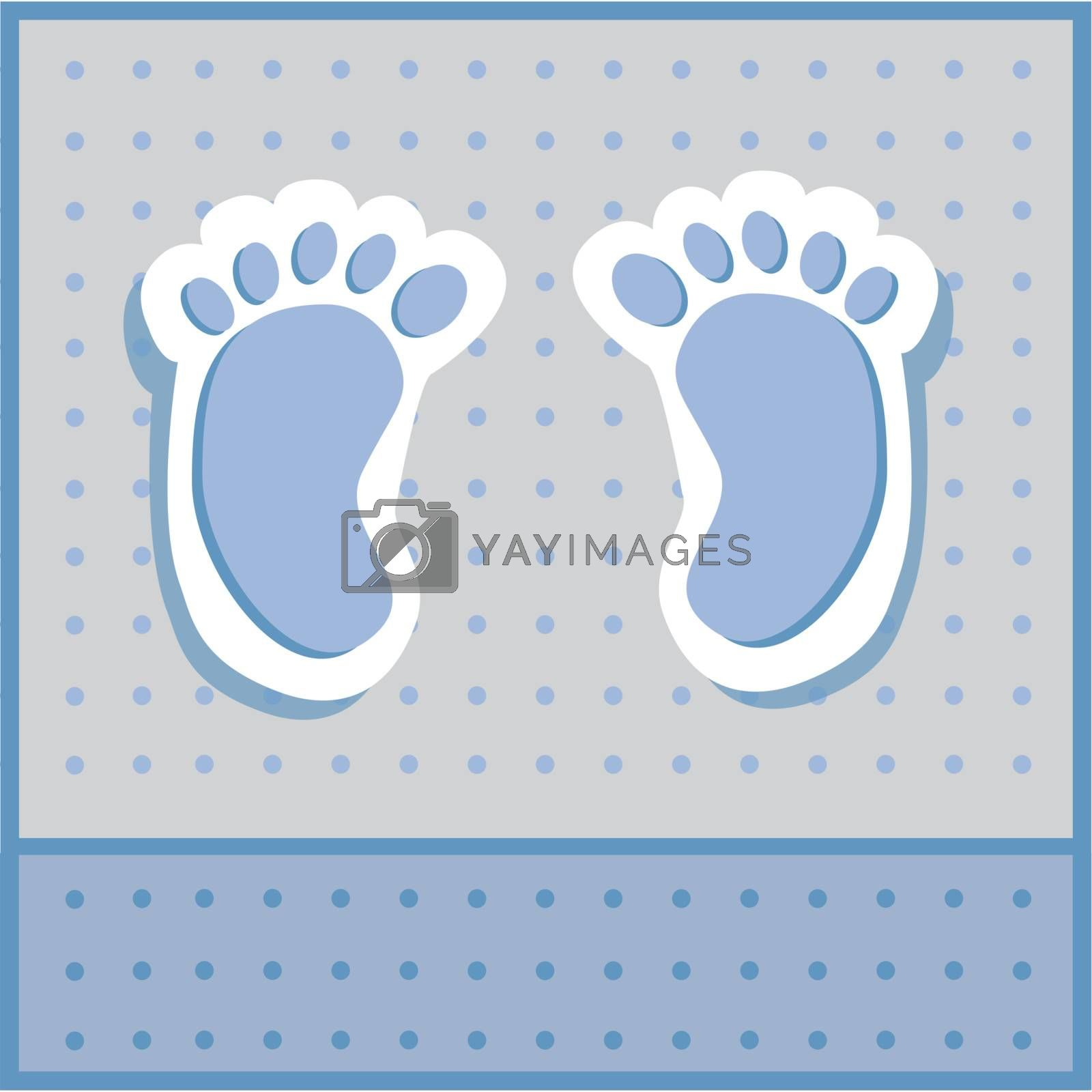 Blue and grey baby boy feet announcement invitation