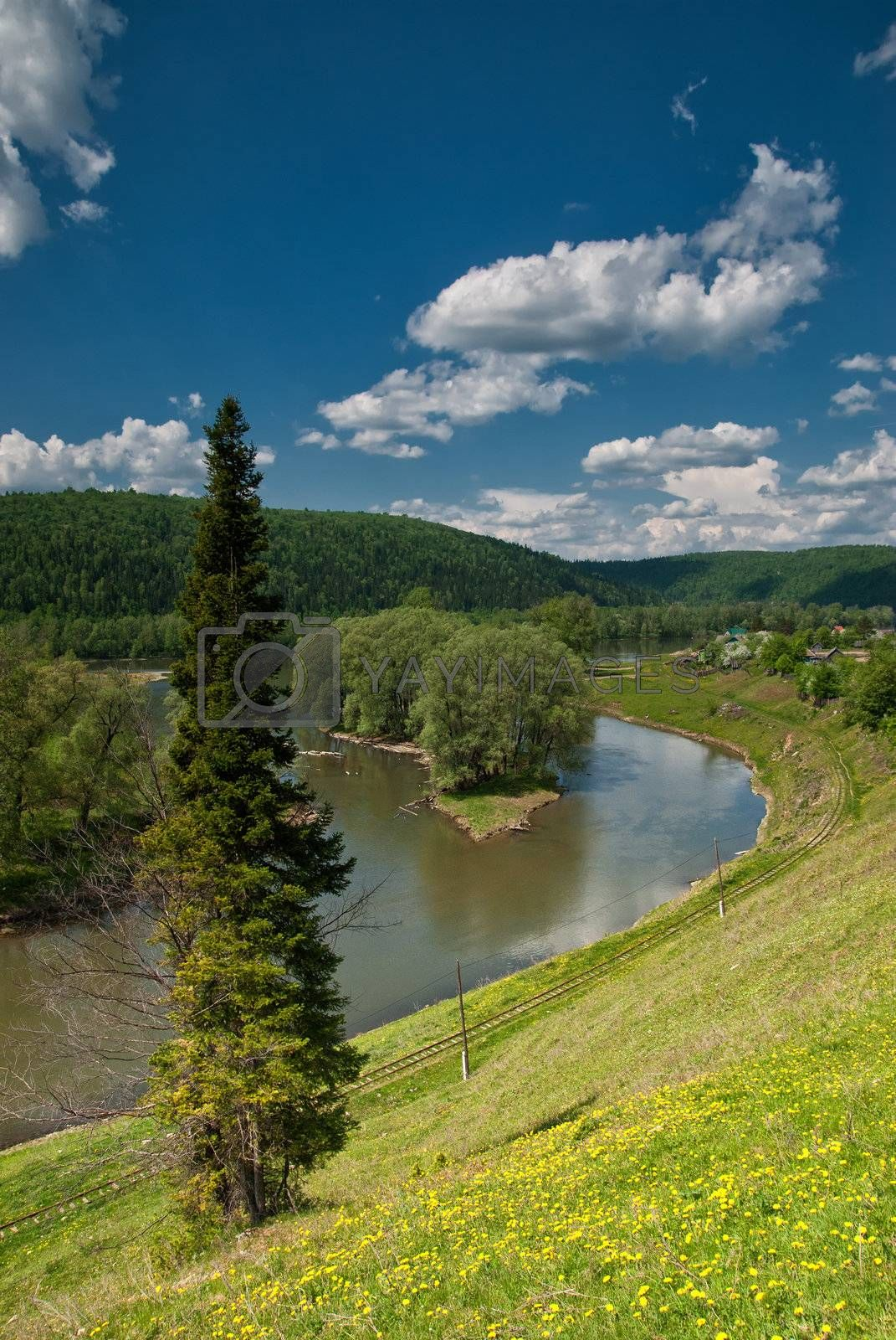 Royalty free image of Summer landscape with river by firewings