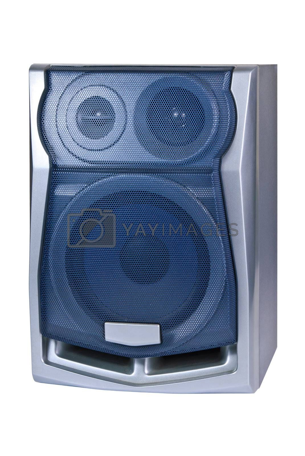 Audio speaker isolated on white background, musical equipment