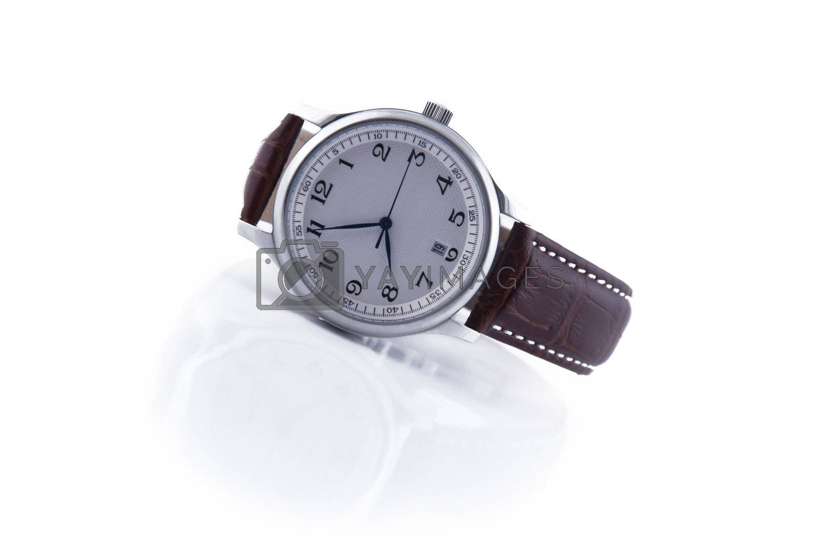 metallic watch with reflection