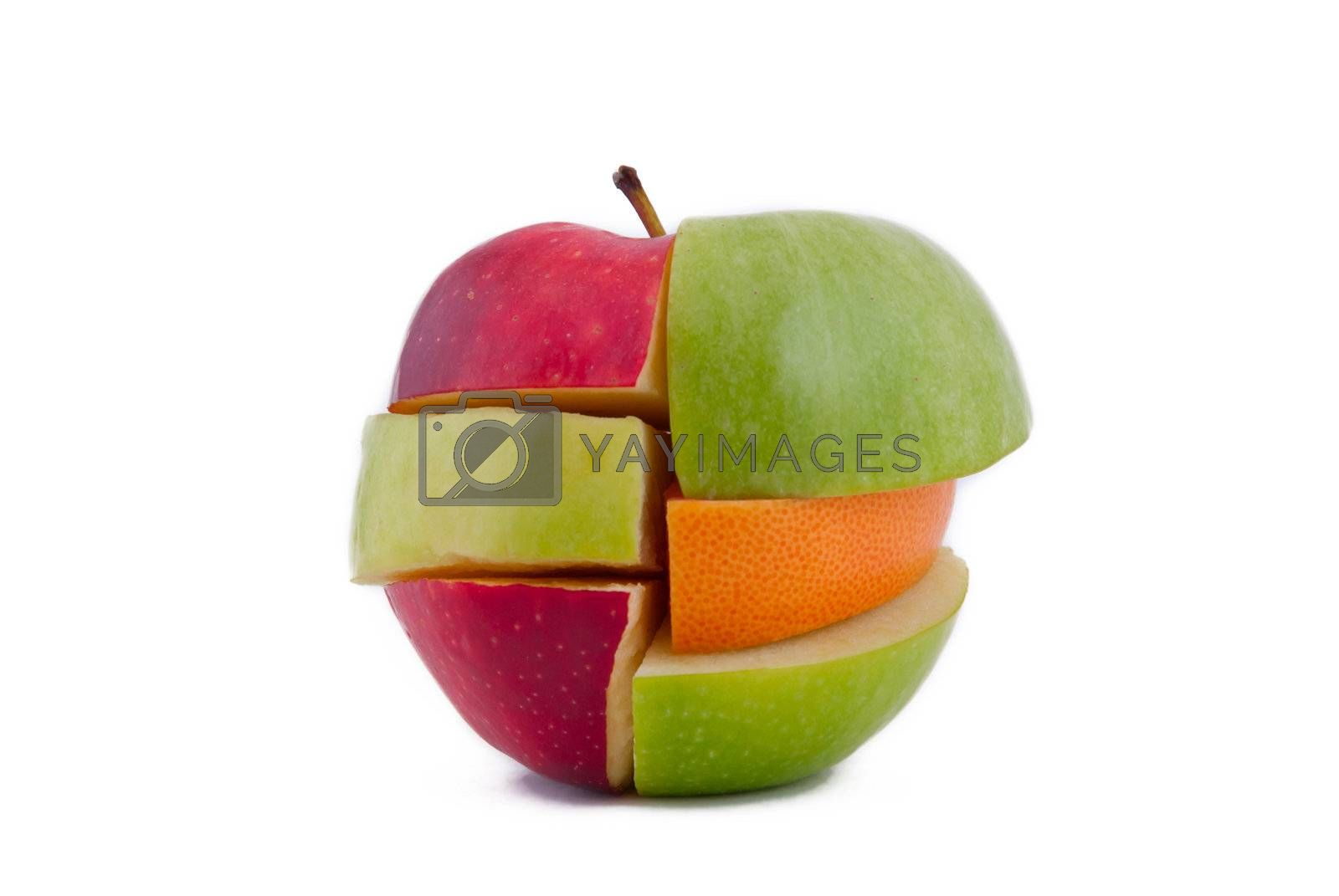 Red and green apples, grapefruit cut and combined by layers, isolated on white background