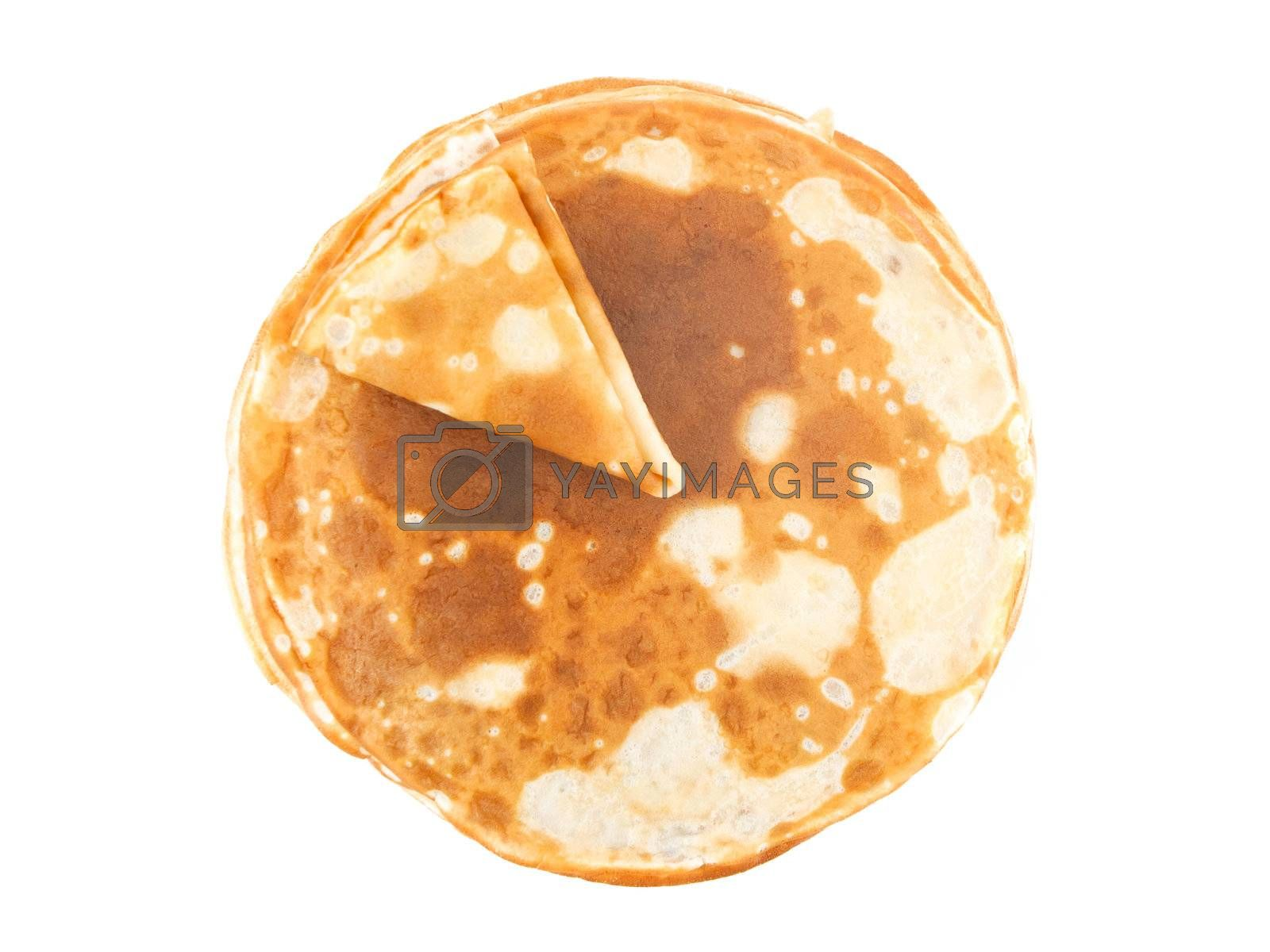 Russian pancake isolated on white background
