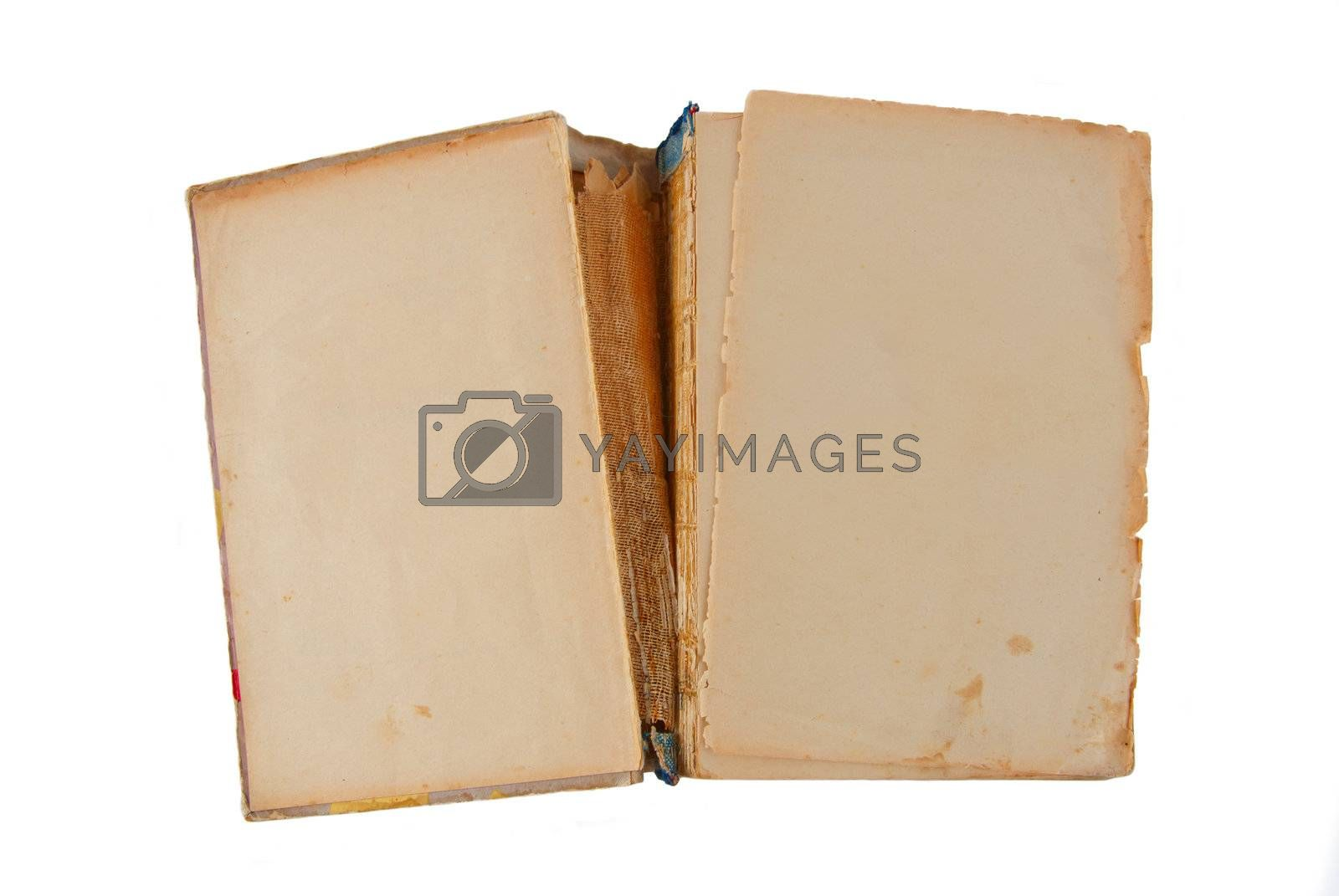 The open old book isolated on white background