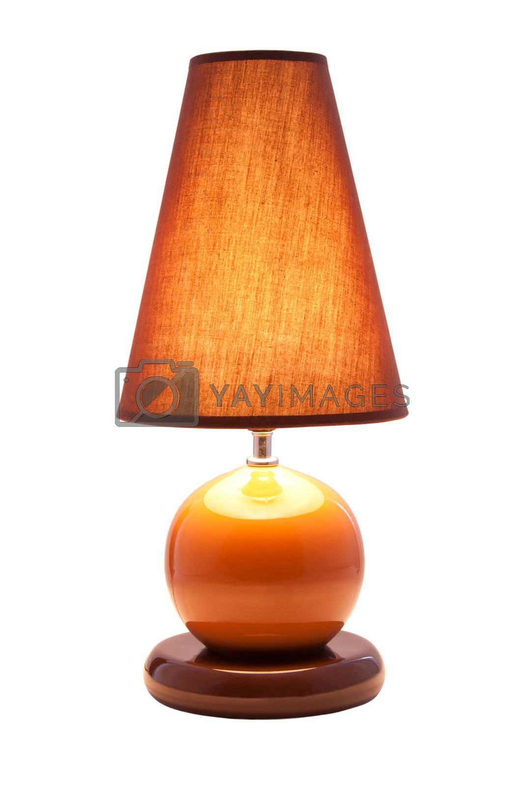 Luminous desk lamp, isolated on white background
