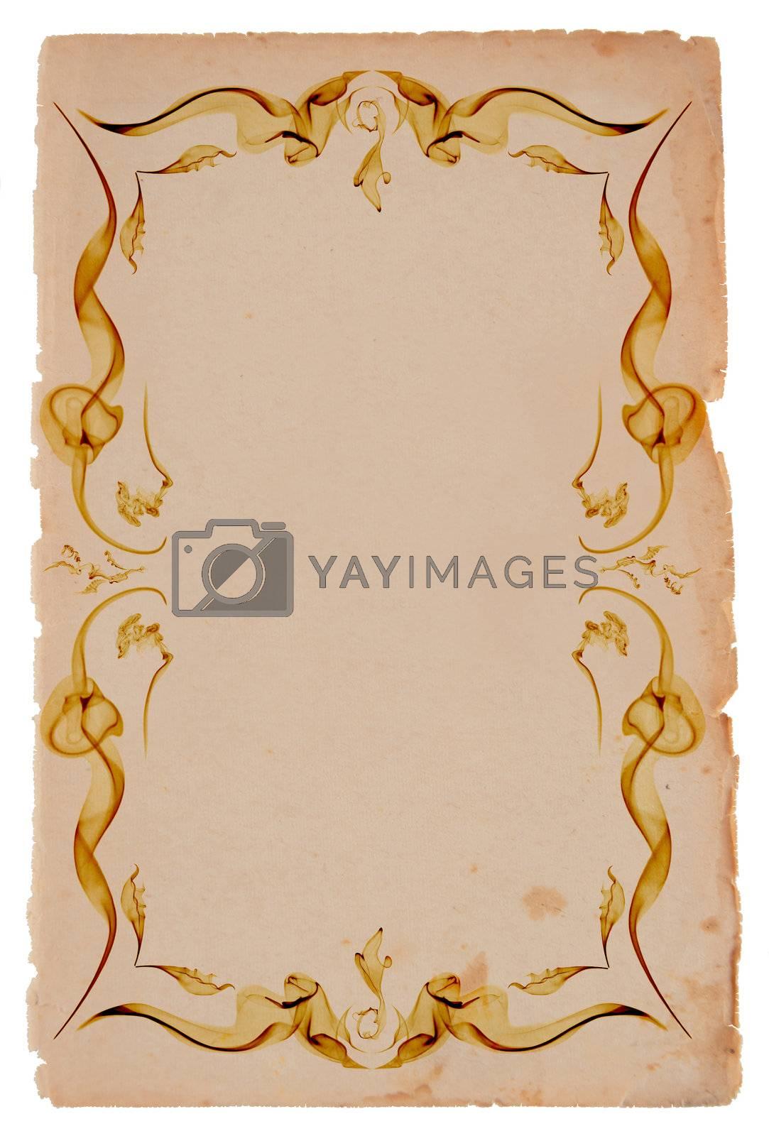 Old paper frame on white background