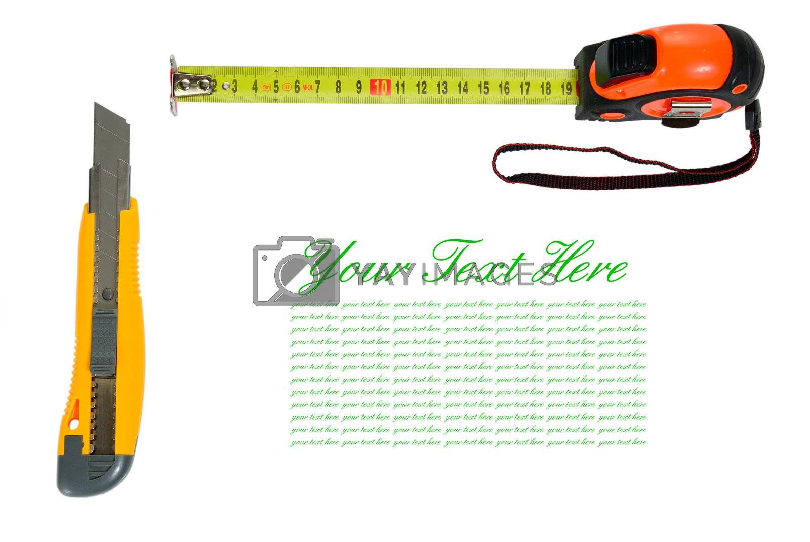 Tools frame isolated with sample text and copy space on white background