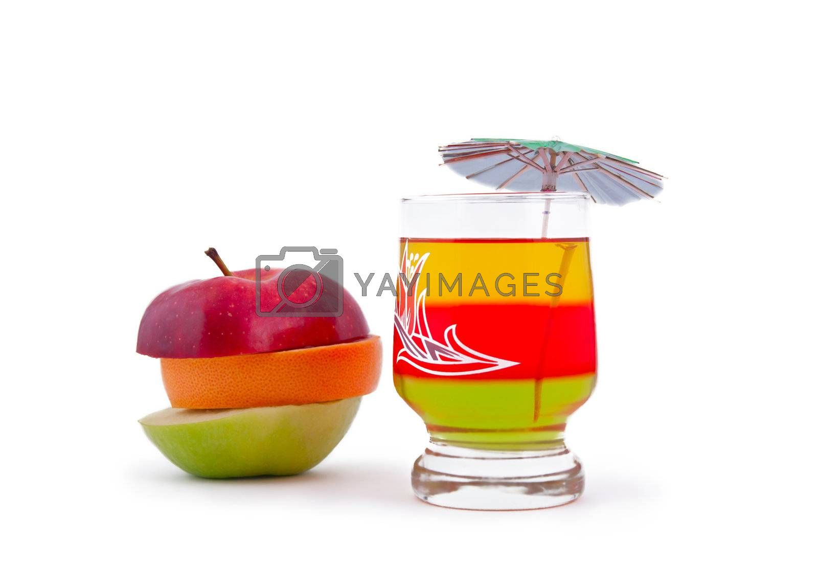 Mixed fruits and coctail, isolated on white background