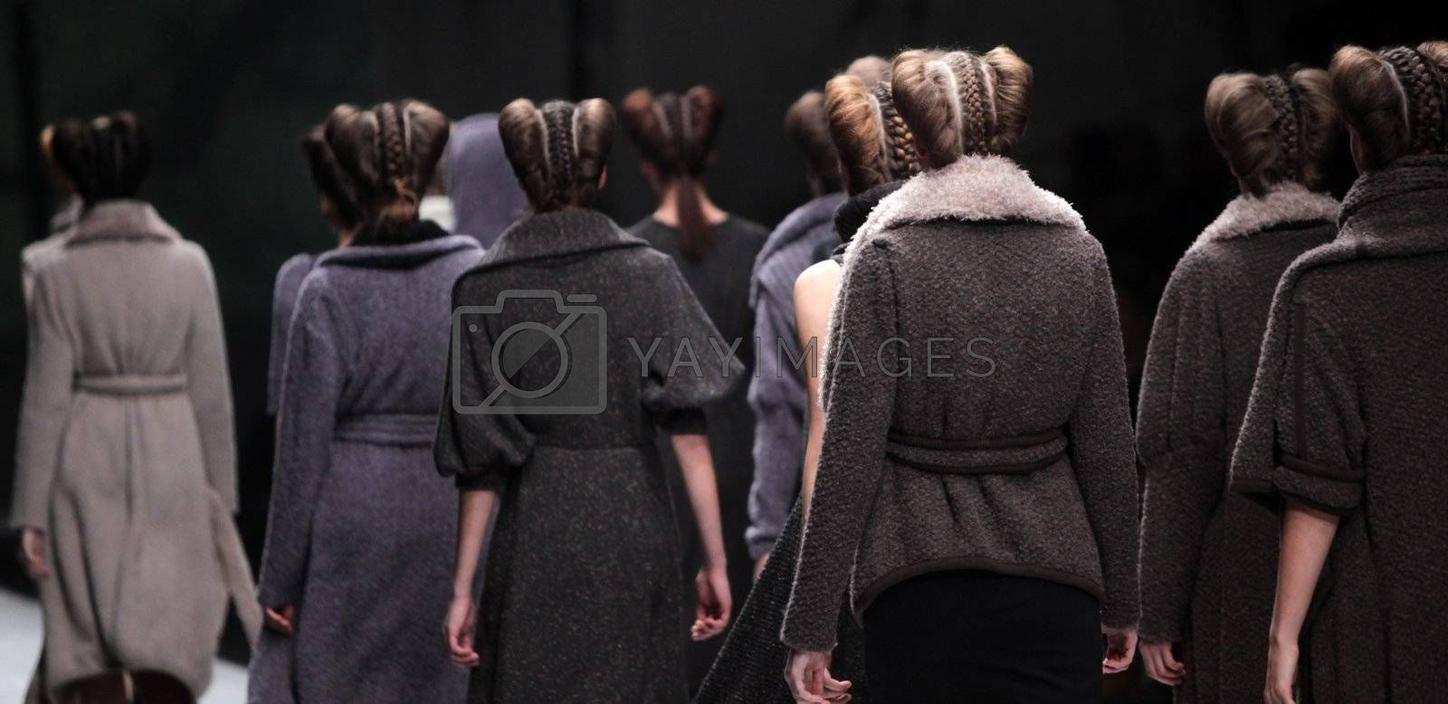 """ZAGREB, CROATIA - MARCH 16: Fashion model wears clothes made by Arena by Galas on """"Dove FASHION.HR"""" show on March 16, 2012 in Zagreb, Croatia."""