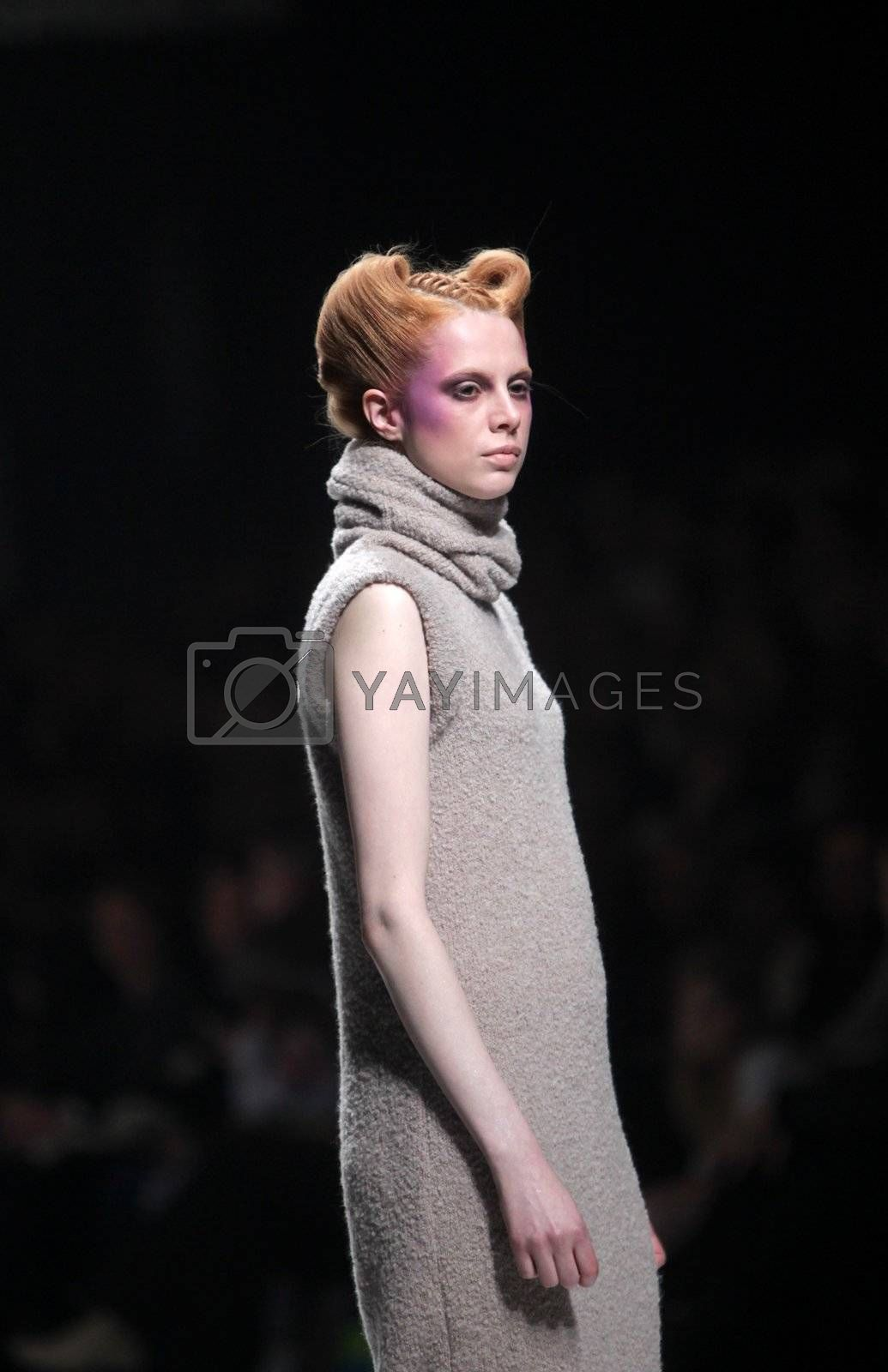 "ZAGREB, CROATIA - MARCH 16: Fashion model wears clothes made by Arena by Galas on ""Dove FASHION.HR"" show on March 16, 2012 in Zagreb, Croatia."