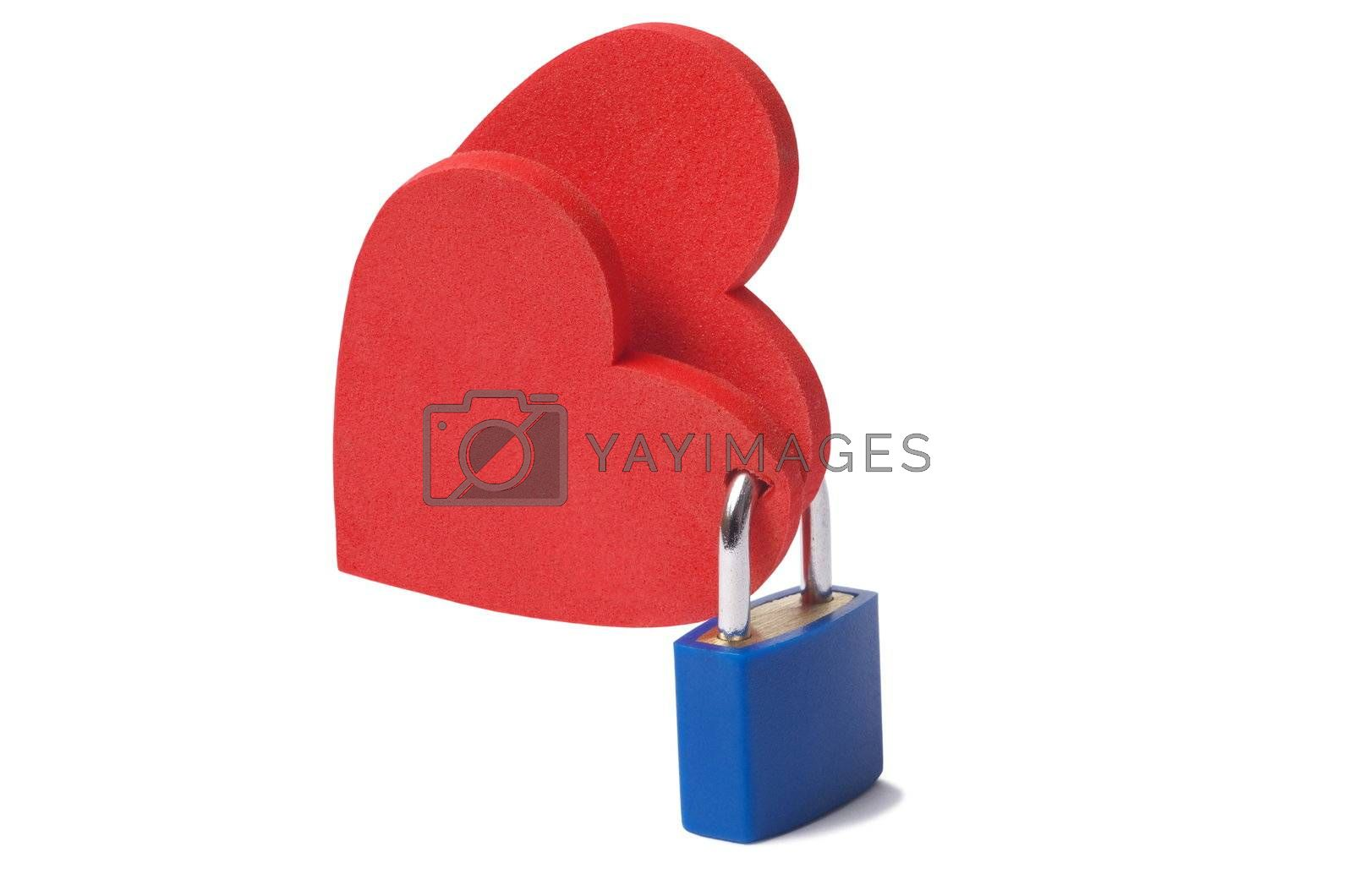 Love concept: two hearts locked with a padlock on white background