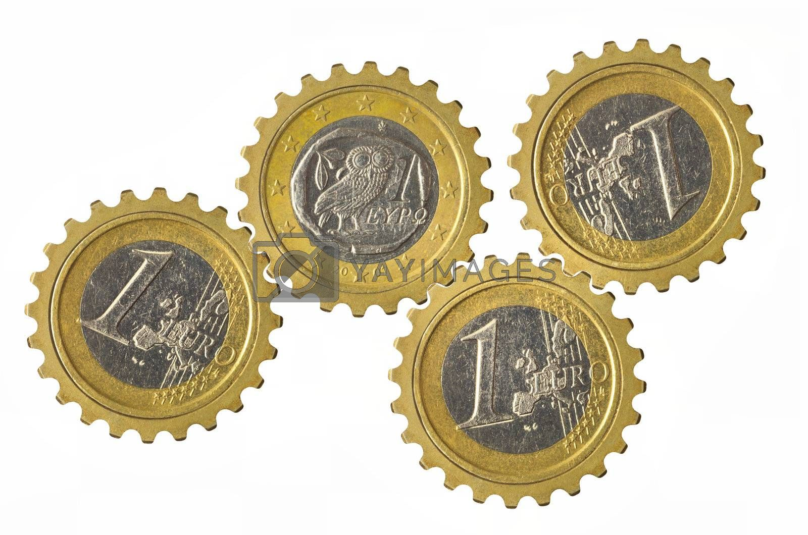 Gears with euro coins inside isolated on white background