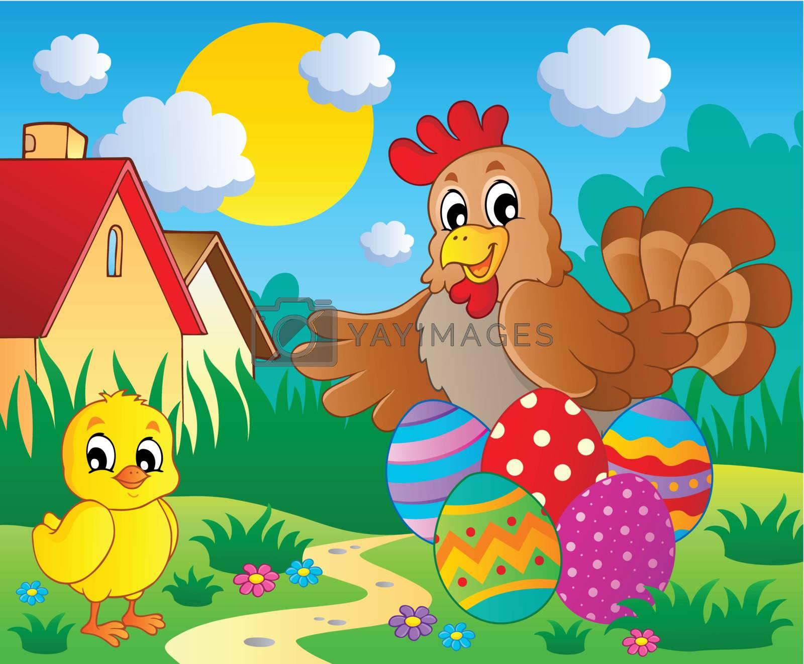 Scene with spring season theme 5 - vector illustration.