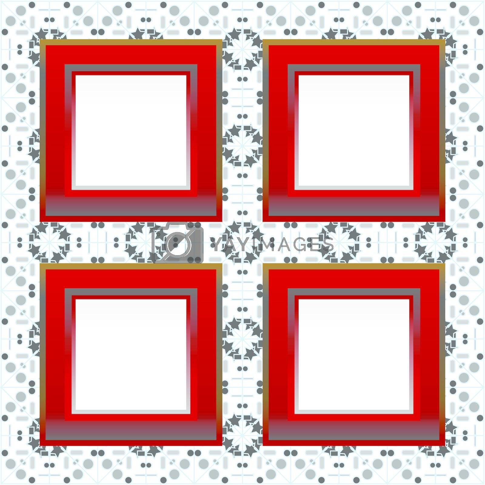red vintage photo frames on grungy floral background. vector