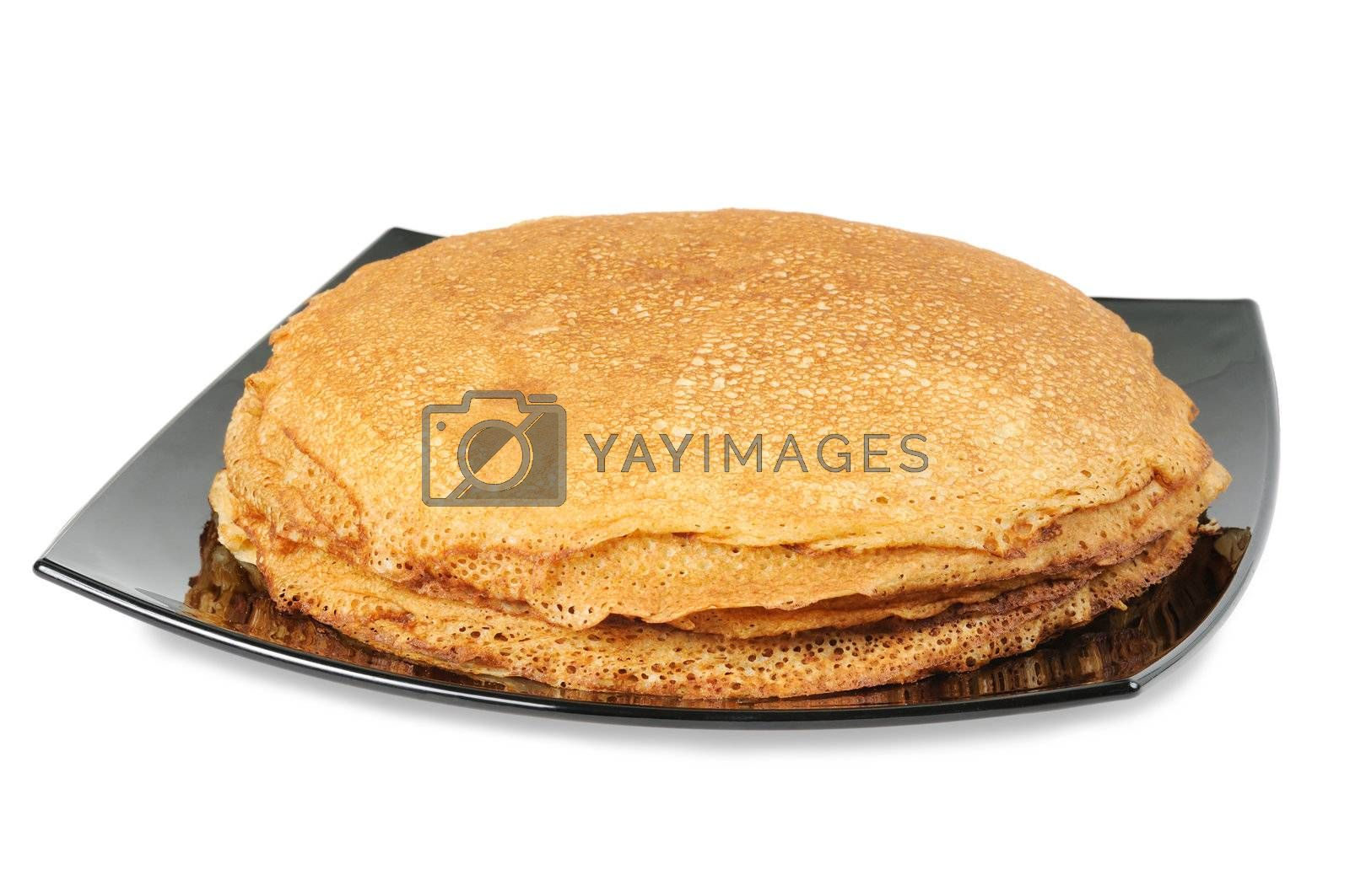 Pancakes on a plate. Isolated on white