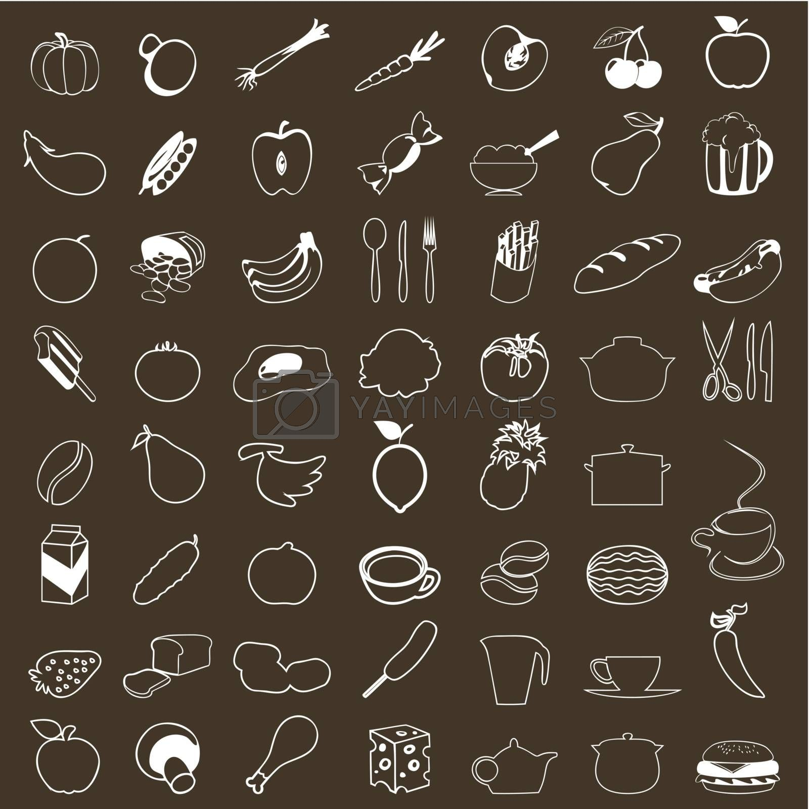 Set of icons of food. A vector illustration