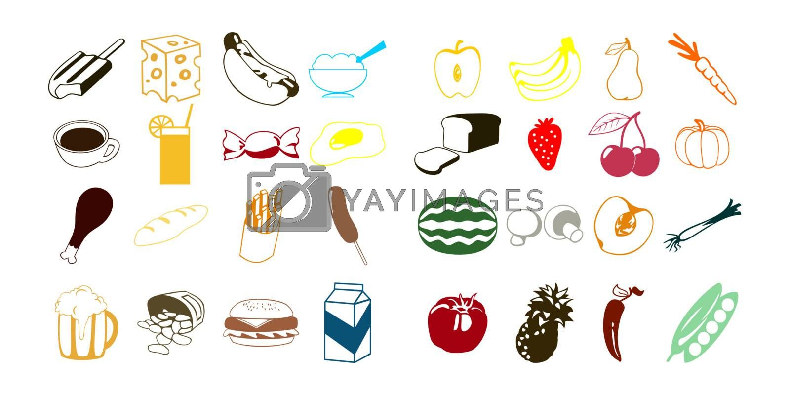 Silhouettes of products of a feed and also vegetables and fruit