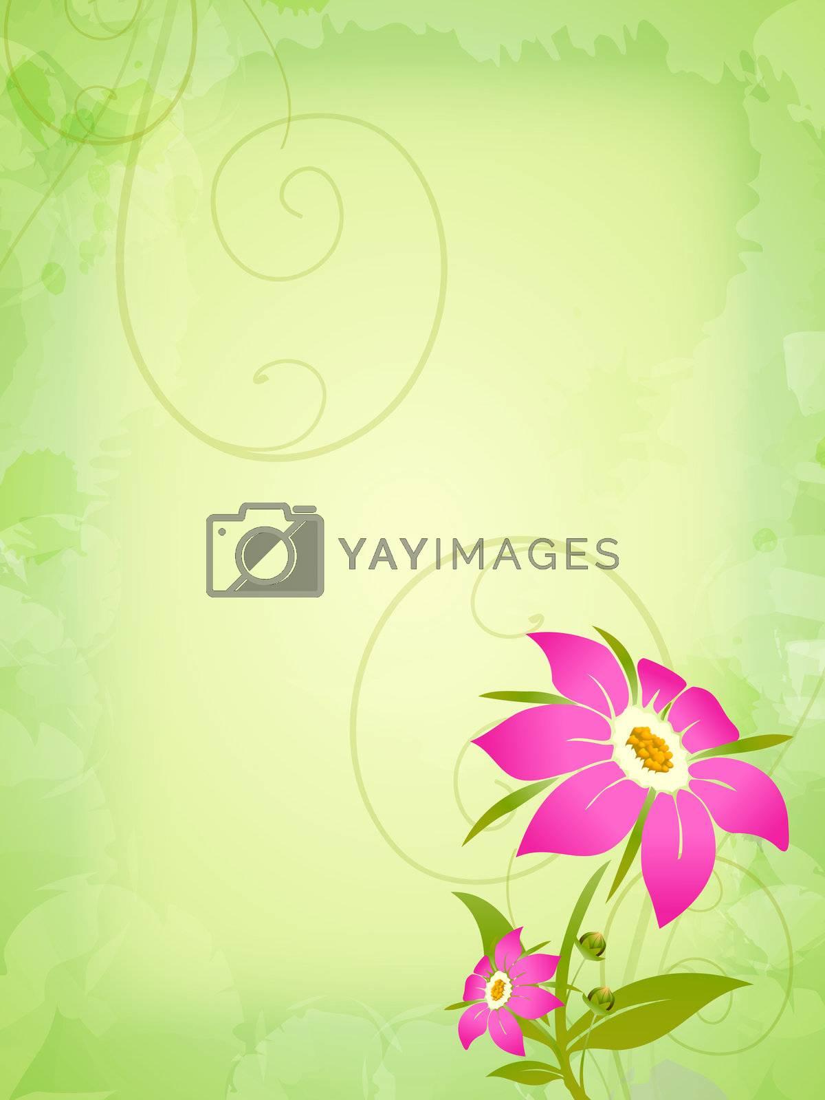 pink flowers over vintage green background
