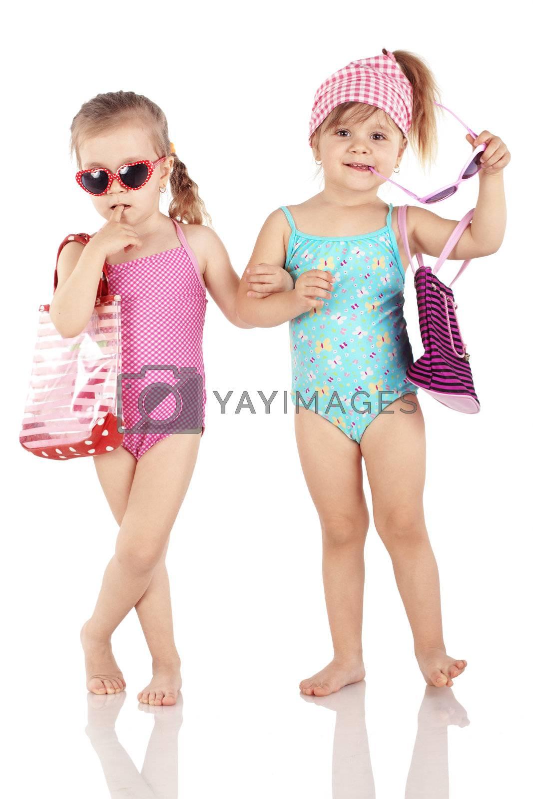 Studio series of cute fashion children wearing swimwear isolated on white background