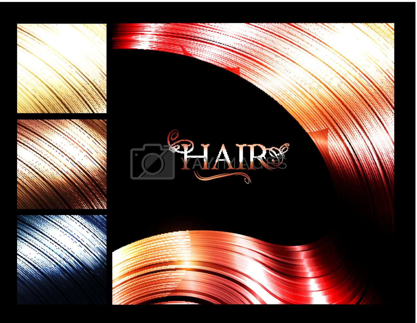 Hair palette banners over dark background