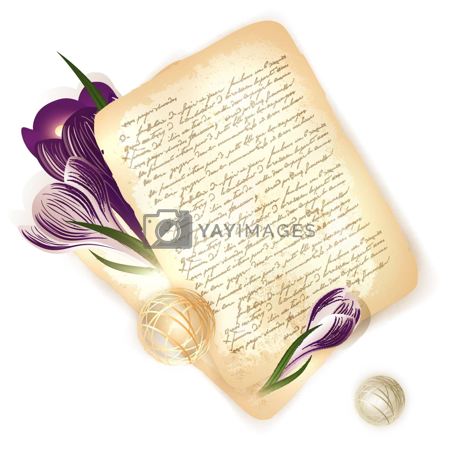 old letter with crocus flowers at wooden background