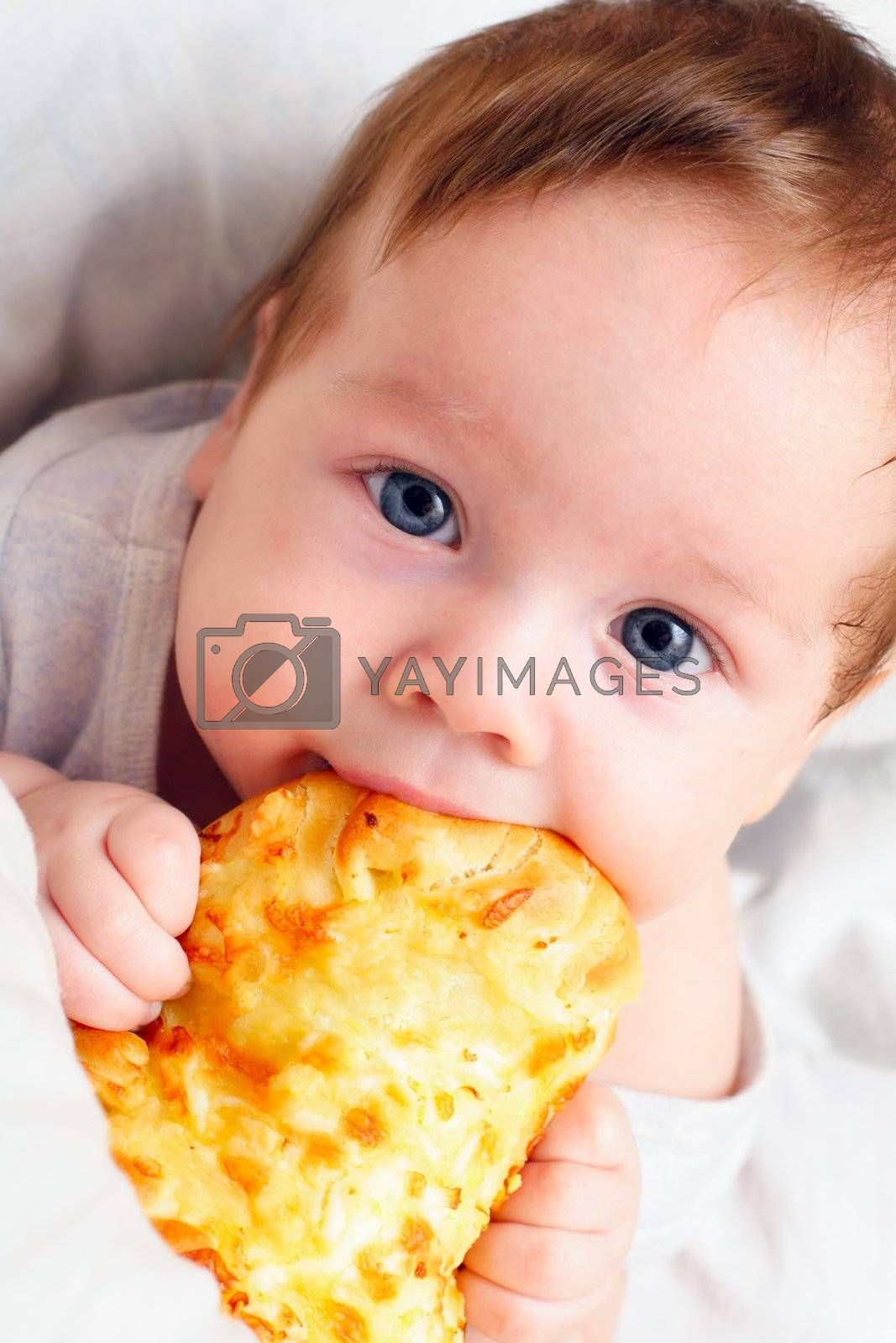little kid eating pizza appetizing