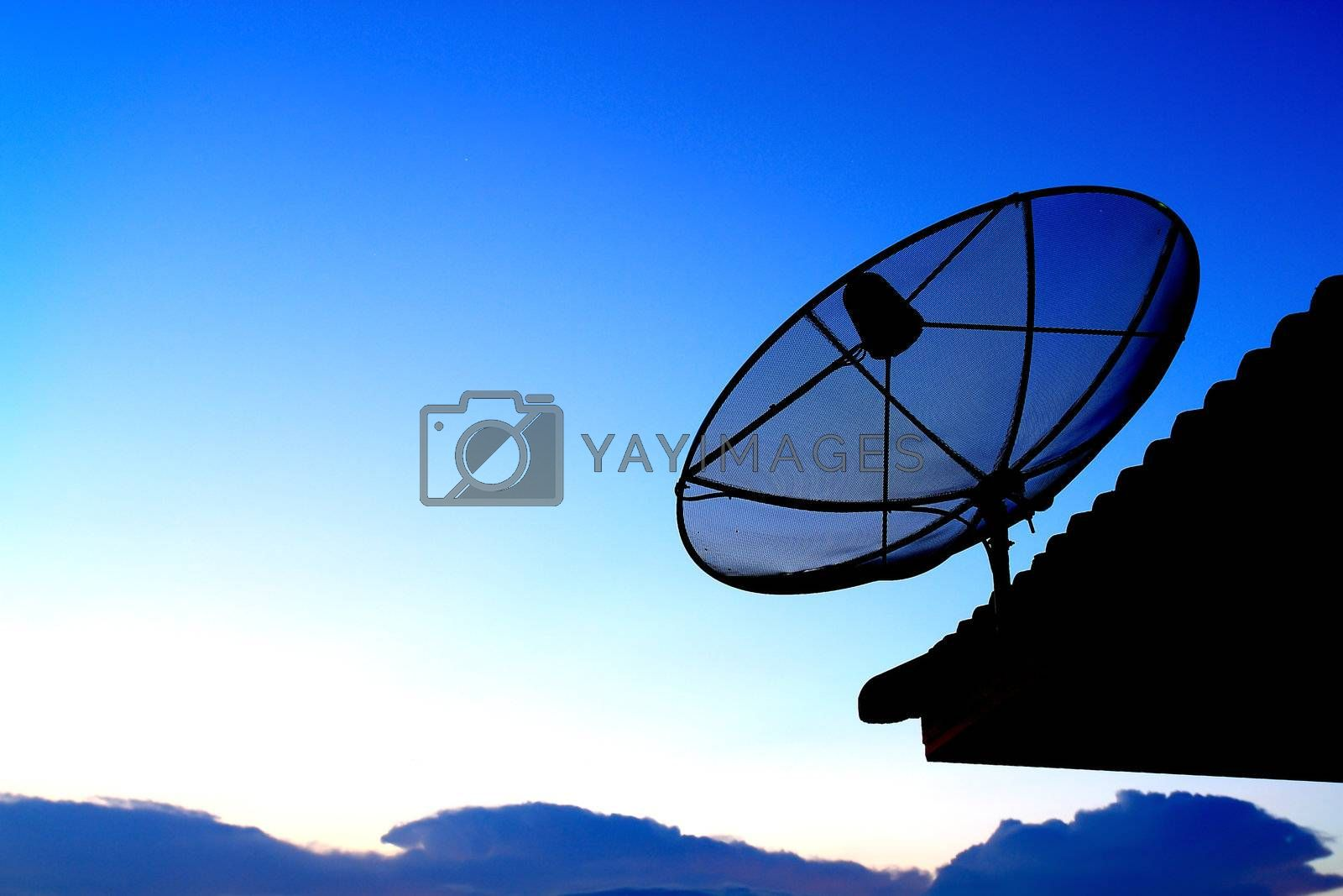 Satellite TV with sunset sky