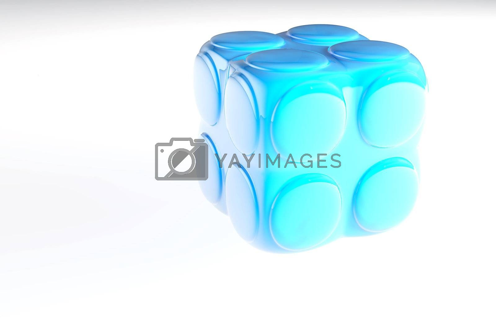 blue child's block for games in outdoor on a white background