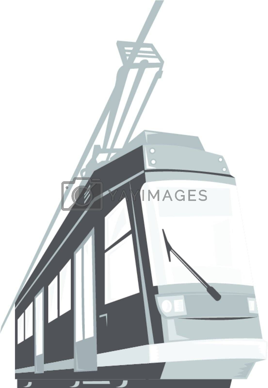 Illustration of a modern streetcar train tram viewed from a low angle on isolated white background done in retro style.