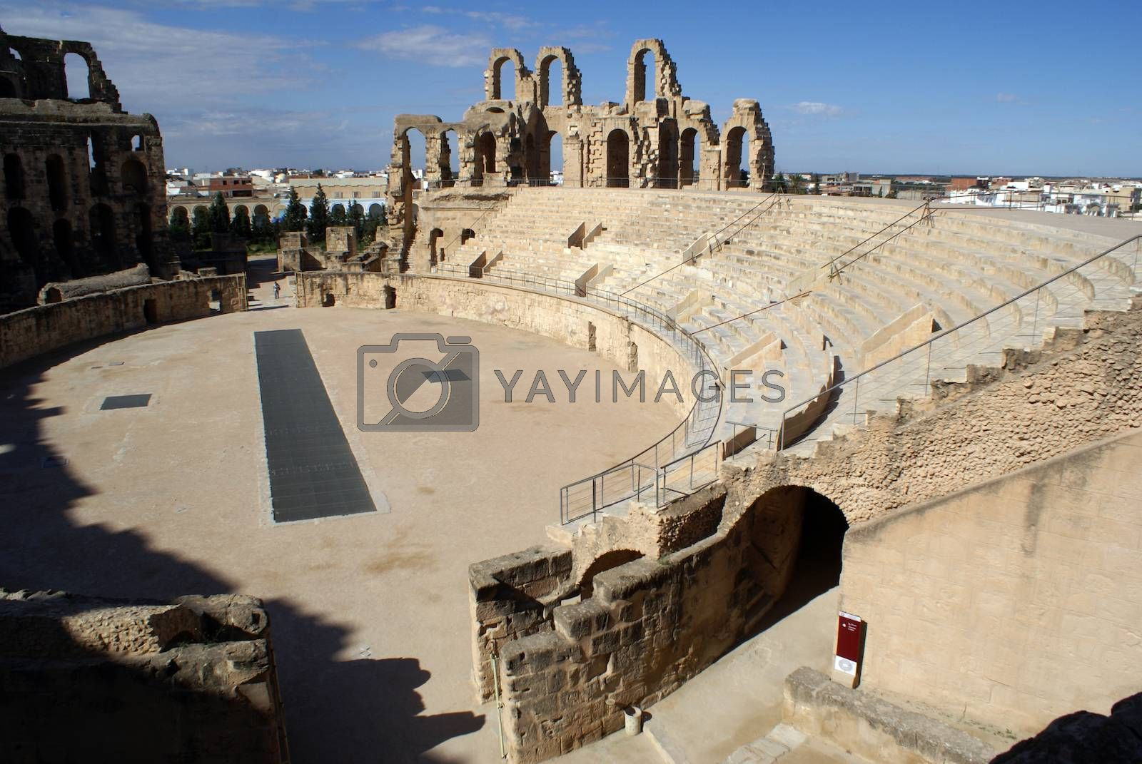 Stage in old roman theater in El-Jem, Tunisia
