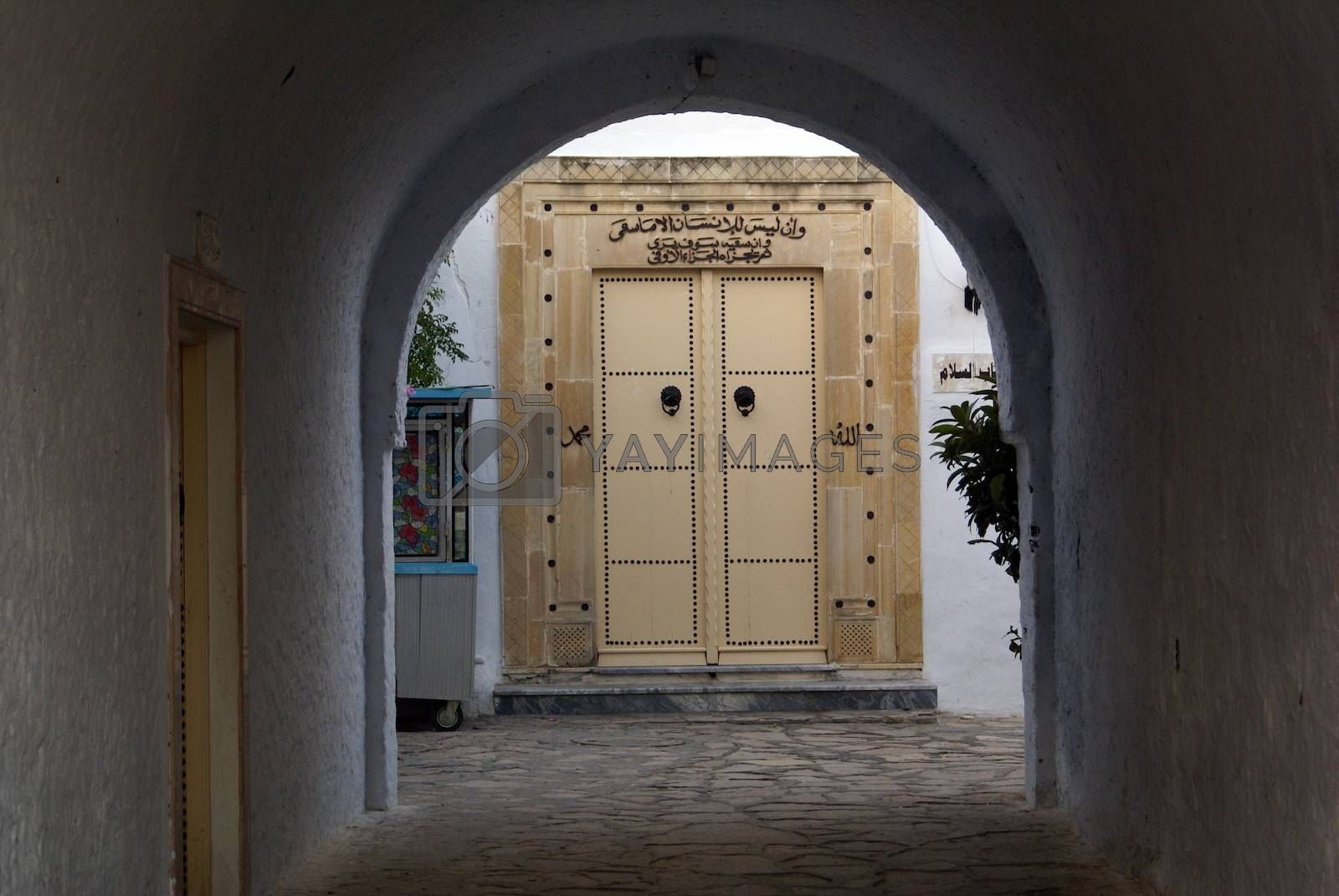 Arc on the street in medina of Hammamet