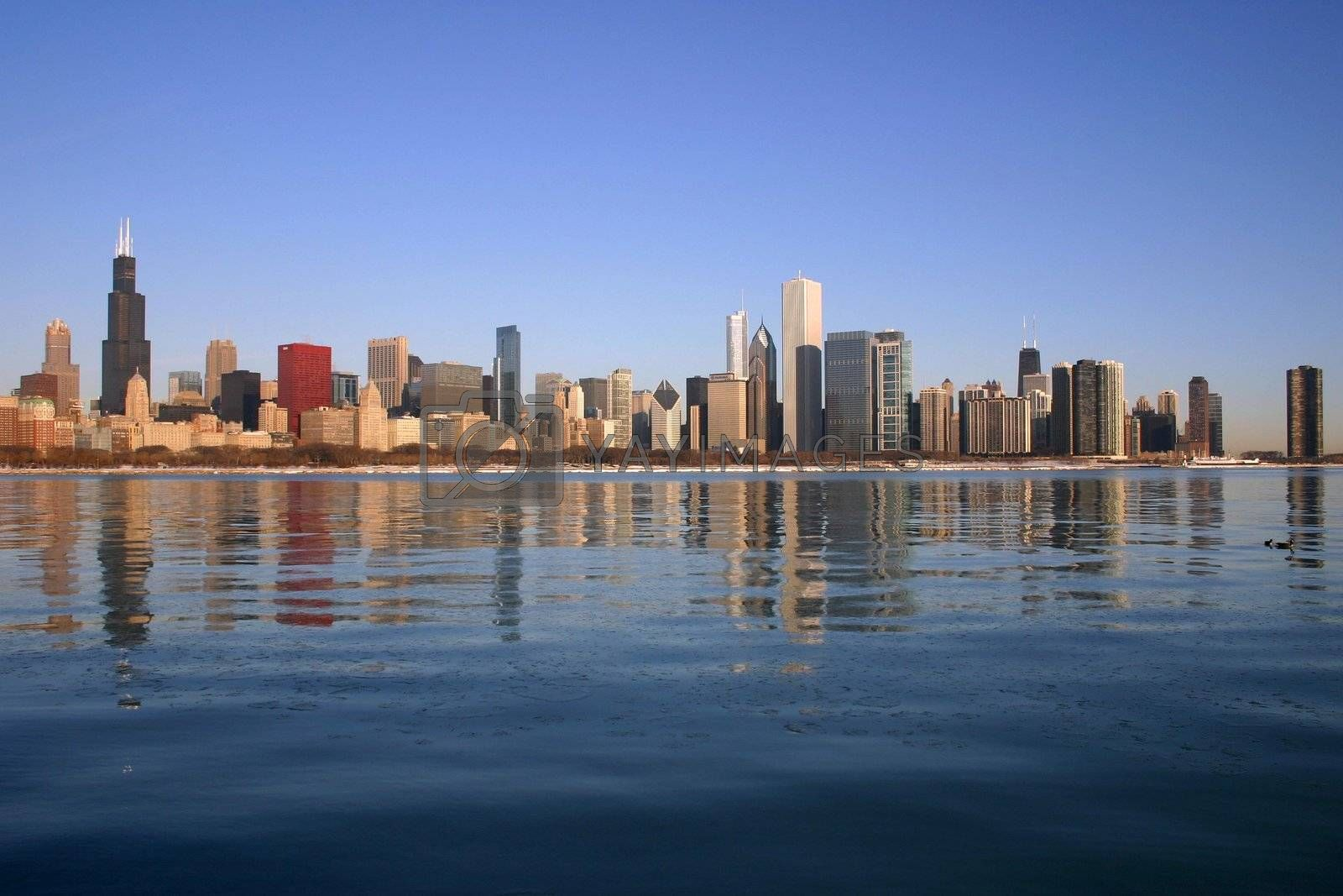 The Chicago skyline at by day, photographed from the Planetarium across the frozen surface of Lake Michigan.