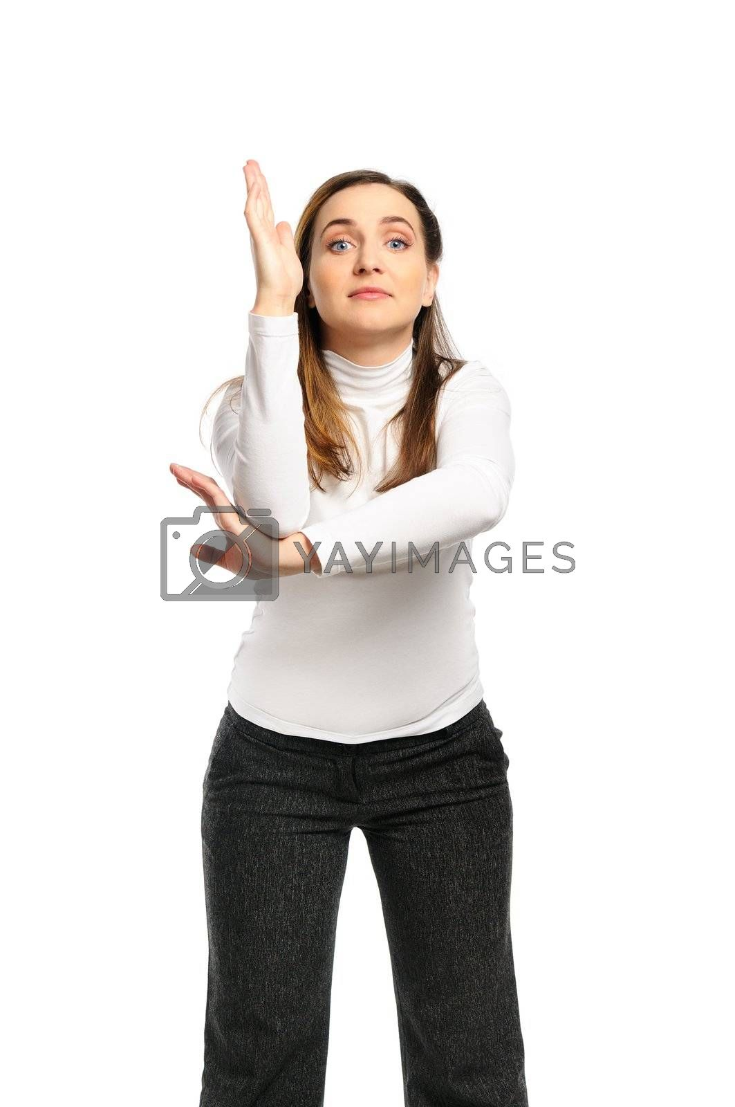 Attractive woman wants to ask a question. Isolated on white.