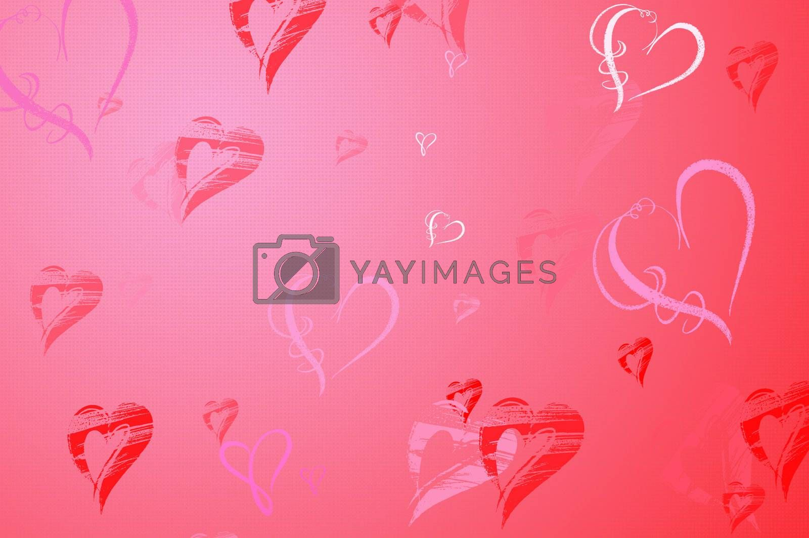 Valentines Day background frame with Hearts in red and pink