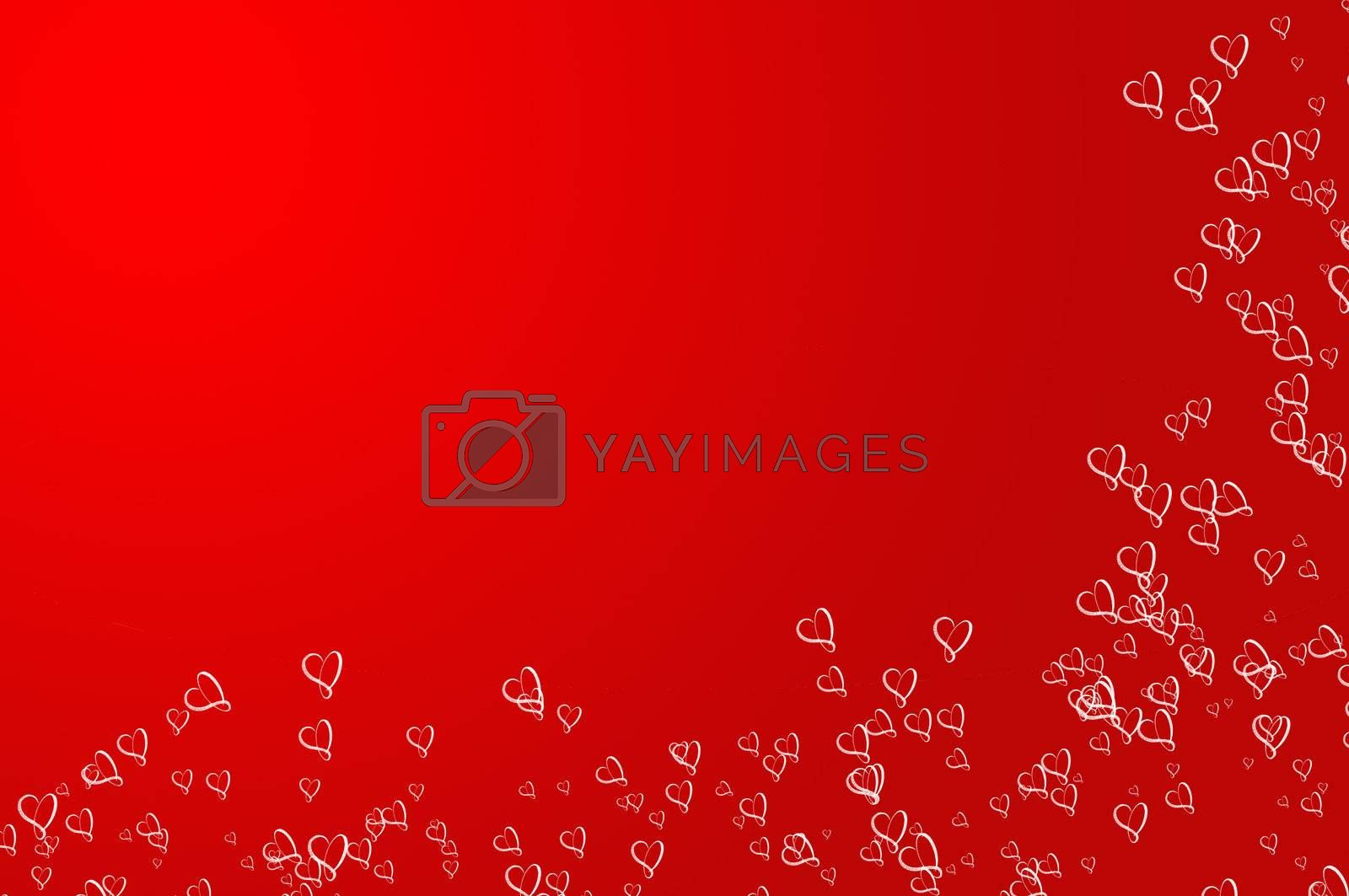 Valentines Day background frame, red with Hearts