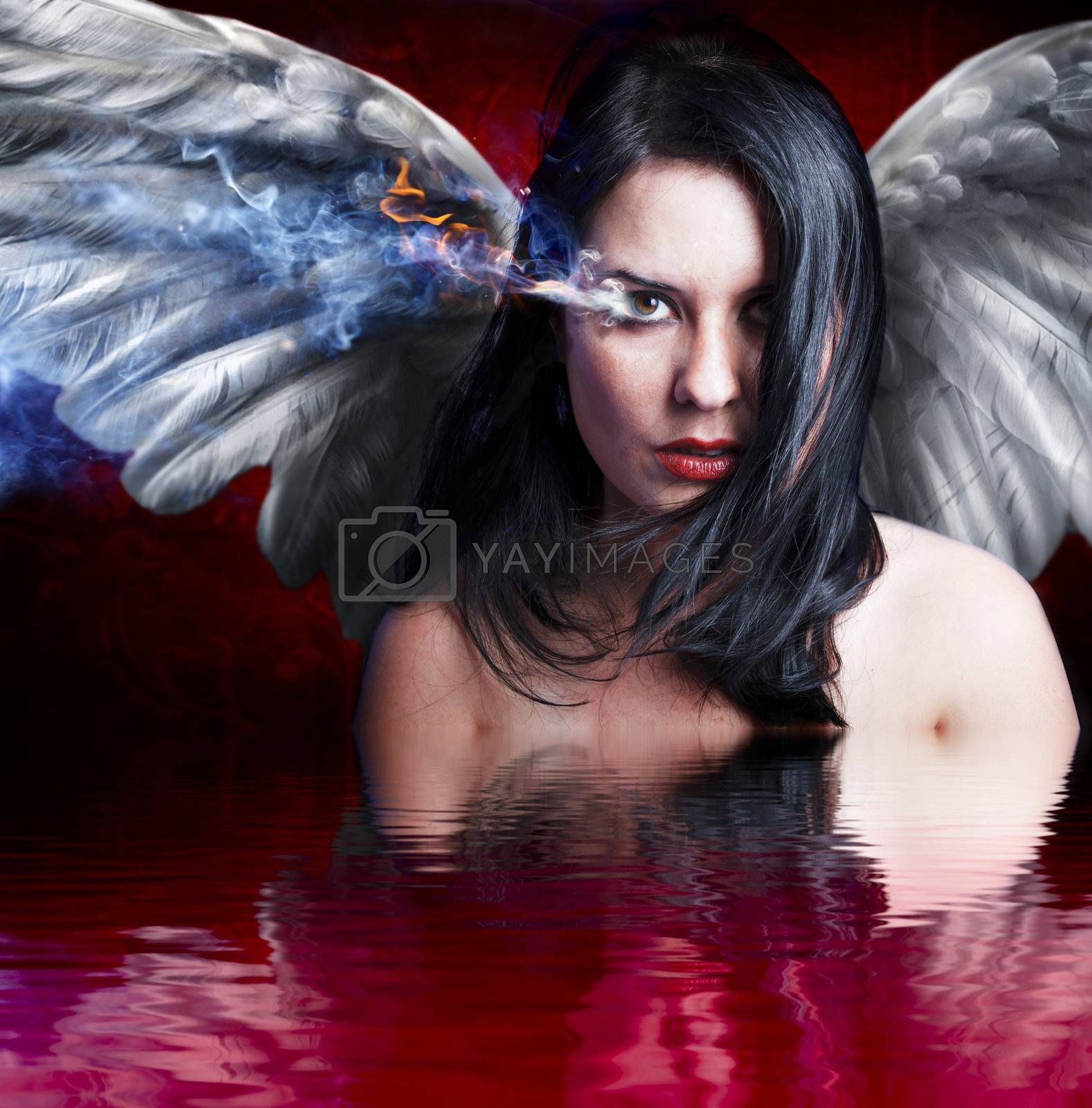 Angel angry, girl with burning eye over blood water reflection