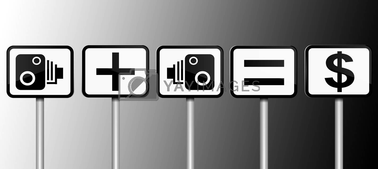Illustration depicting road signs with speed camera financial gain concept. Black and white gradient background.