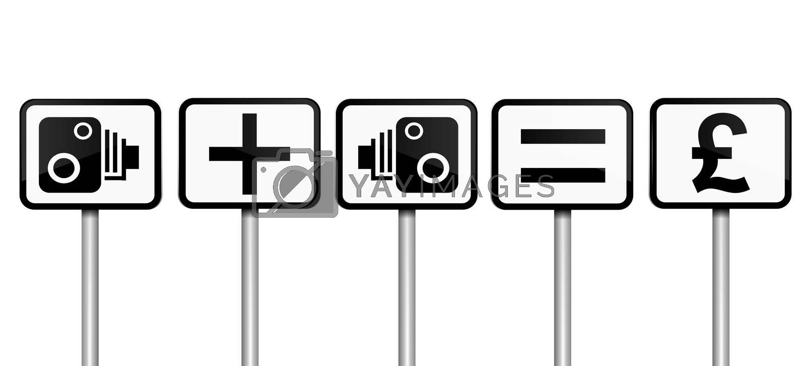 Illustration depicting road signs with speed camera financial gain concept. White background.