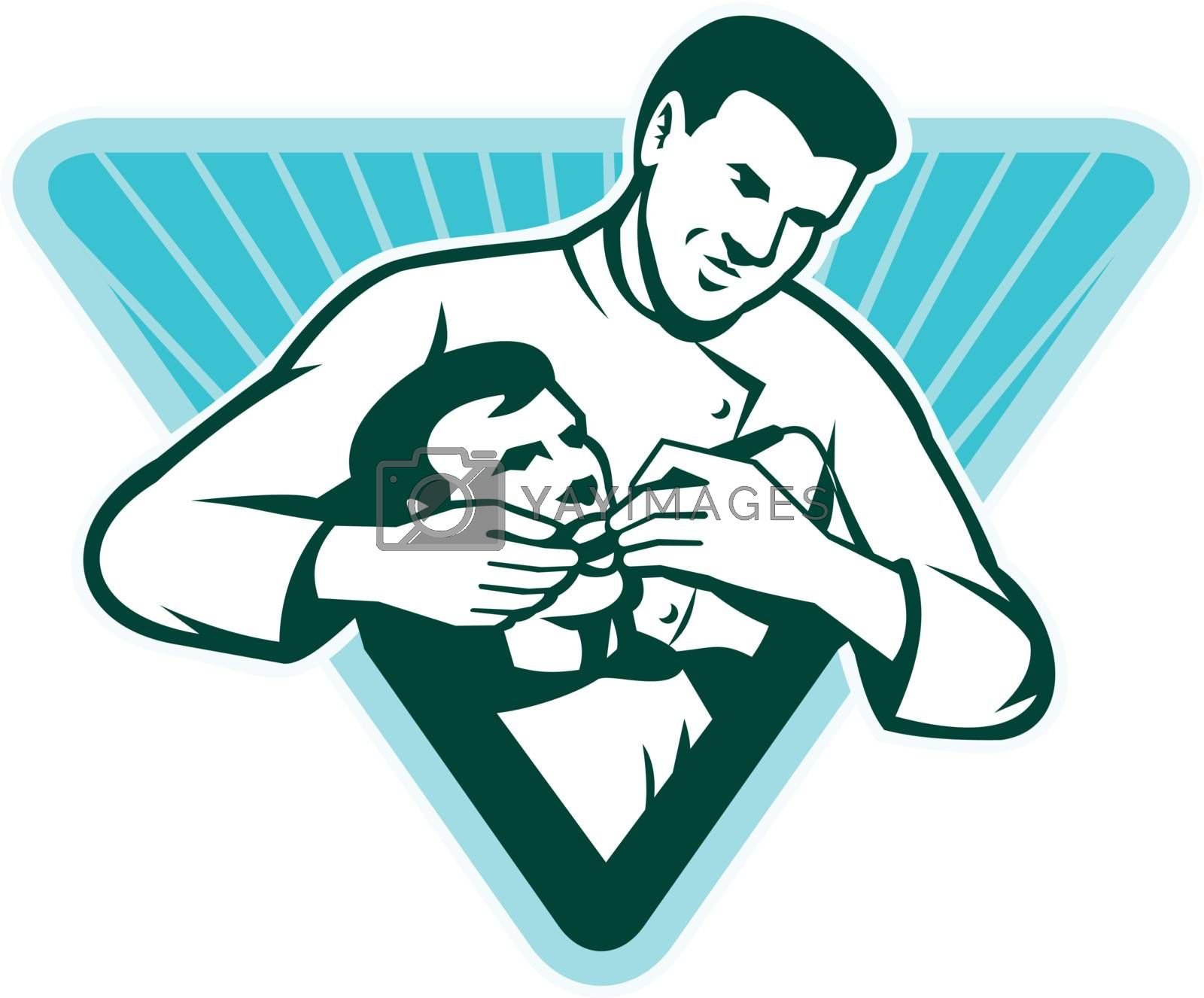 Illustration of a male dentist doing dental work with patient set inside triangle with sunburst done in retro woodcut style.