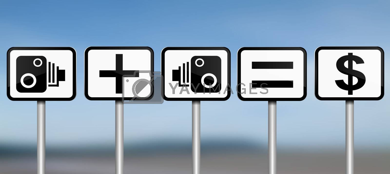 Illustration depicting road signs with speed camera financial gain concept. Blue blur background.