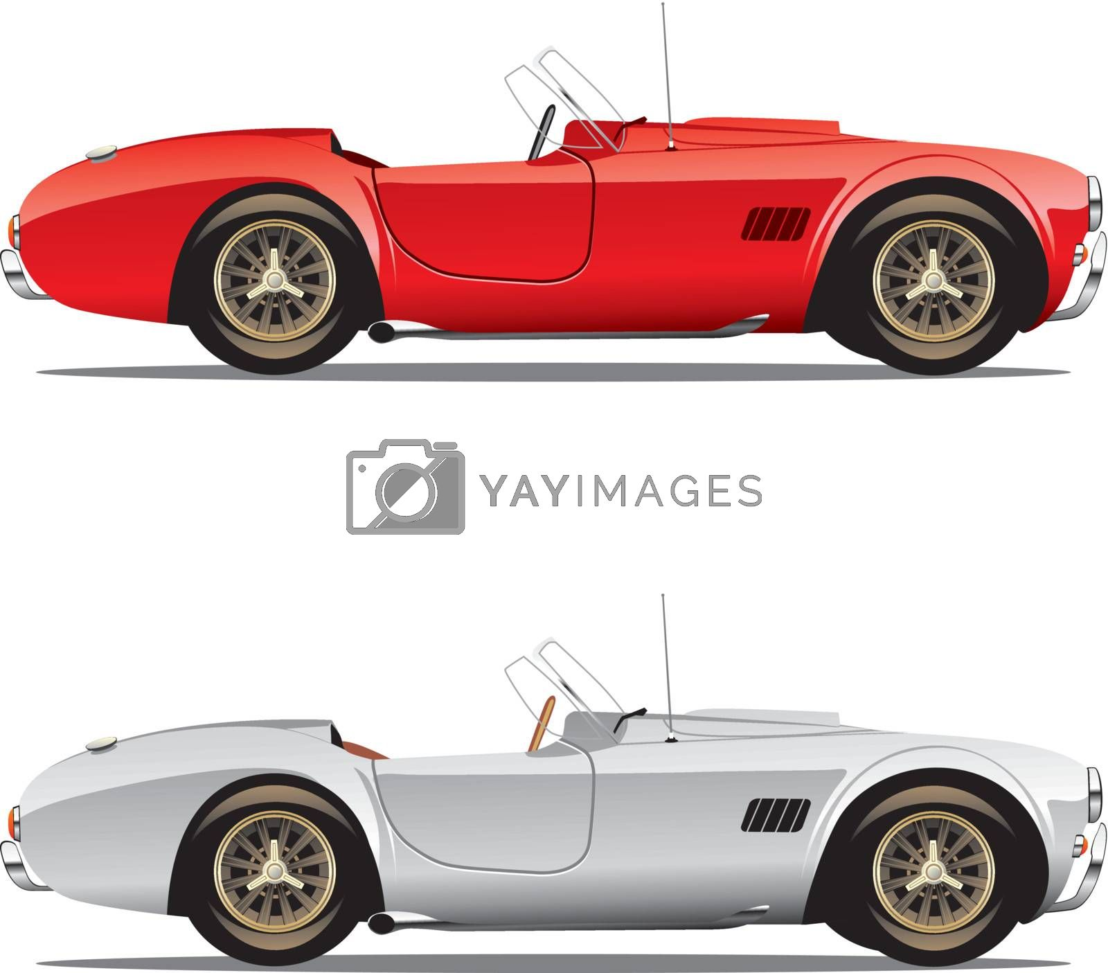 vector editable isolated convertible cars with details