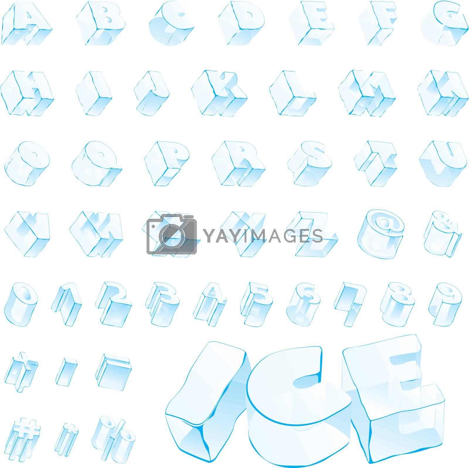 fully editable vector 3d ice alphabet - capitals and numerals