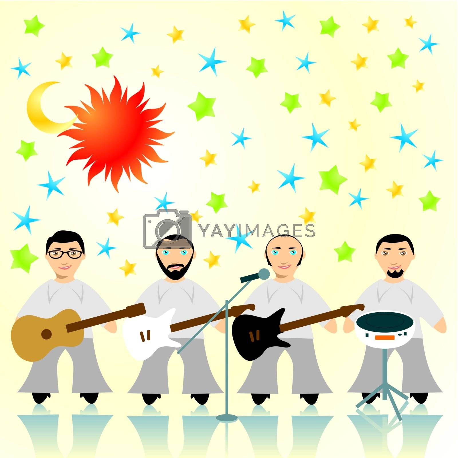 fully editable vector illustration of one rock band