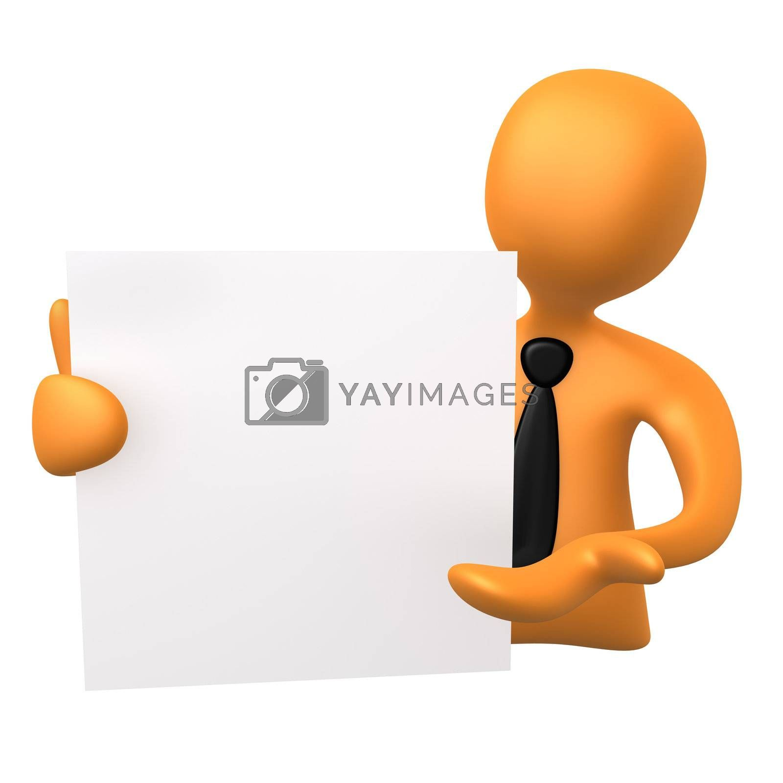 3d business person holding a notepad .
