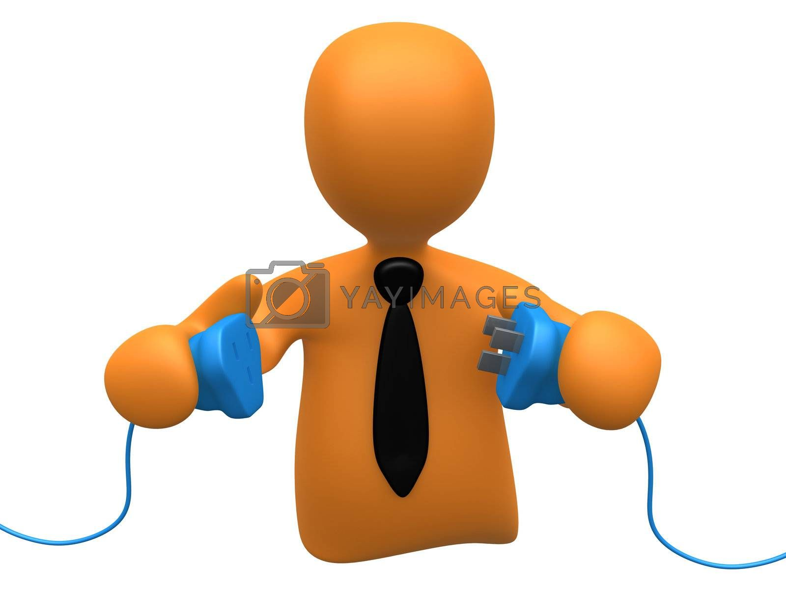 3d person ready to connect to power cables .